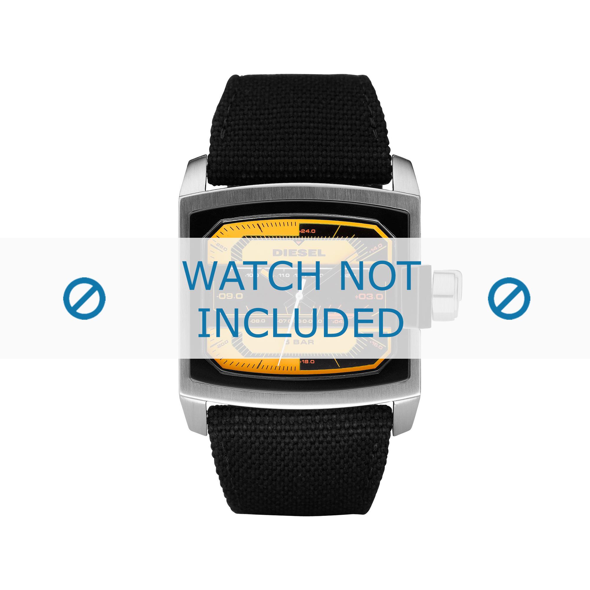 Diesel horlogeband DZ1456 Leder Zwart 32mm + zwart stiksel