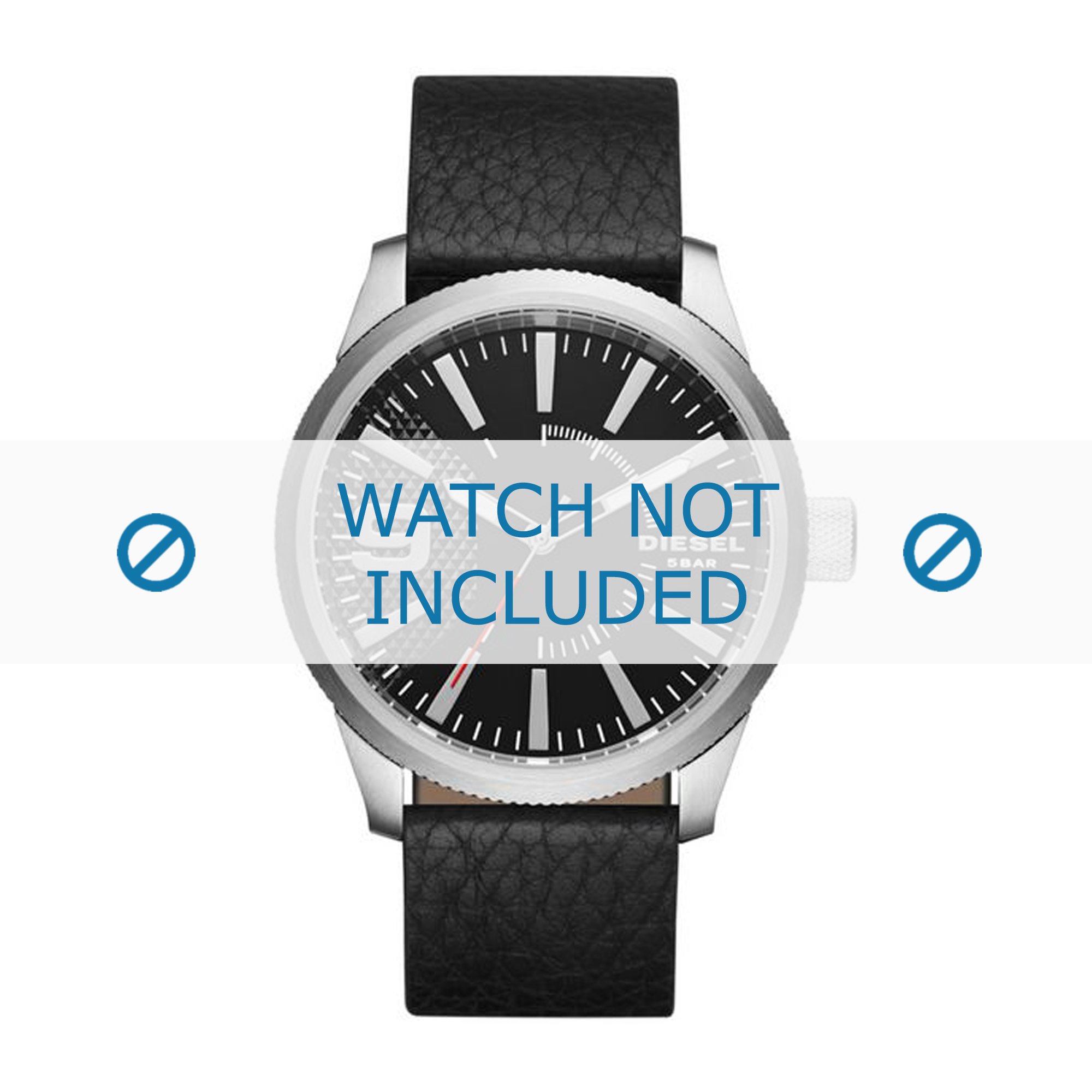 Diesel horlogeband DZ1766 Leder Zwart 24mm