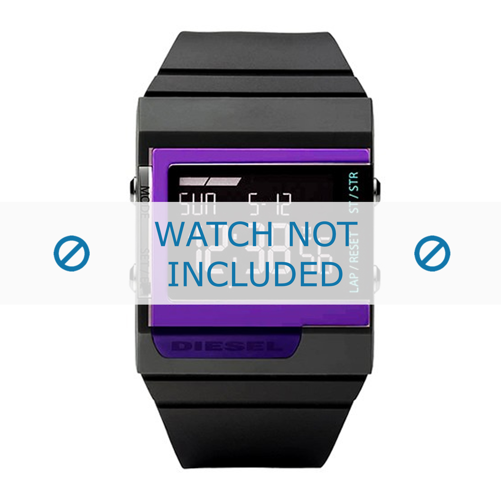 Diesel horlogeband DZ7181 Silicoon Antracietgrijs 23mm