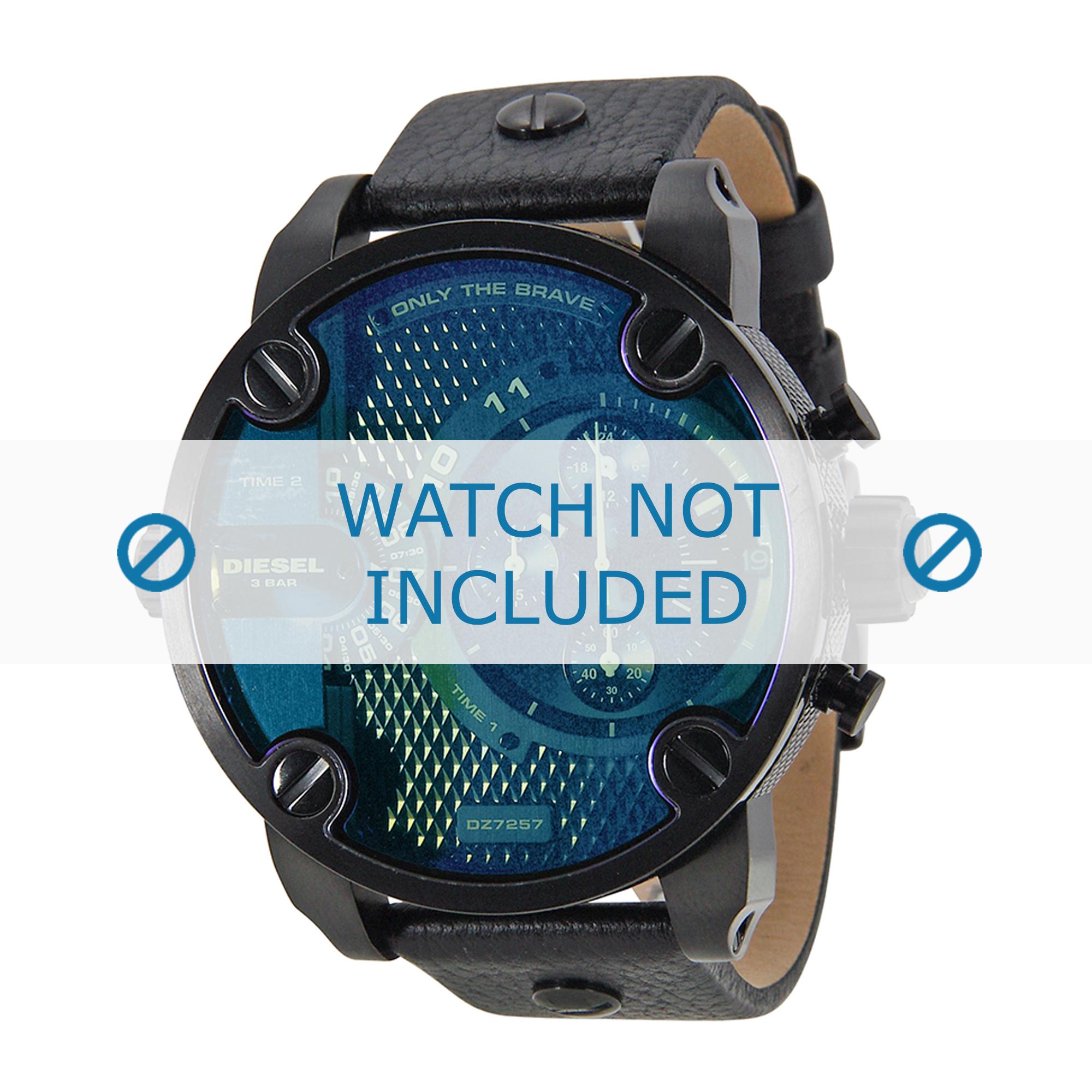 Diesel horlogeband DZ7257 Leder Zwart 24mm