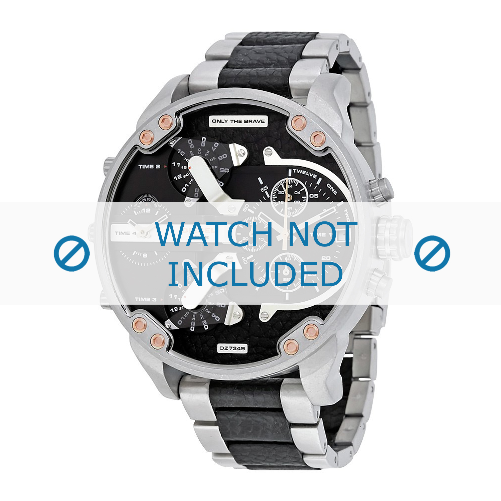 Diesel horlogeband DZ7349 Roestvrij staal (RVS) Zwart 28mm