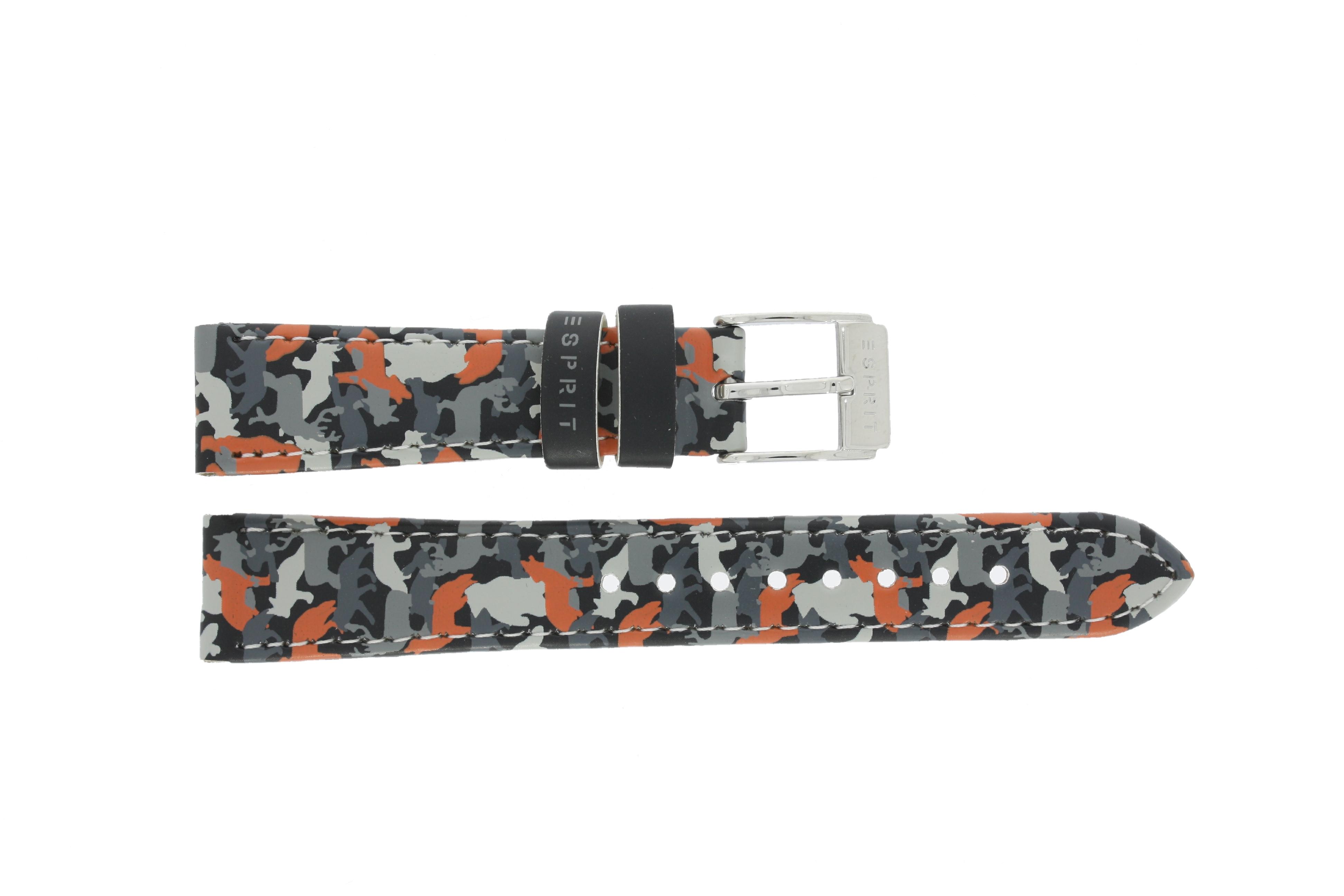 Esprit horlogeband ES103444-40 / ES103444-40GROR Leder Grijs 16mm + wit stiksel