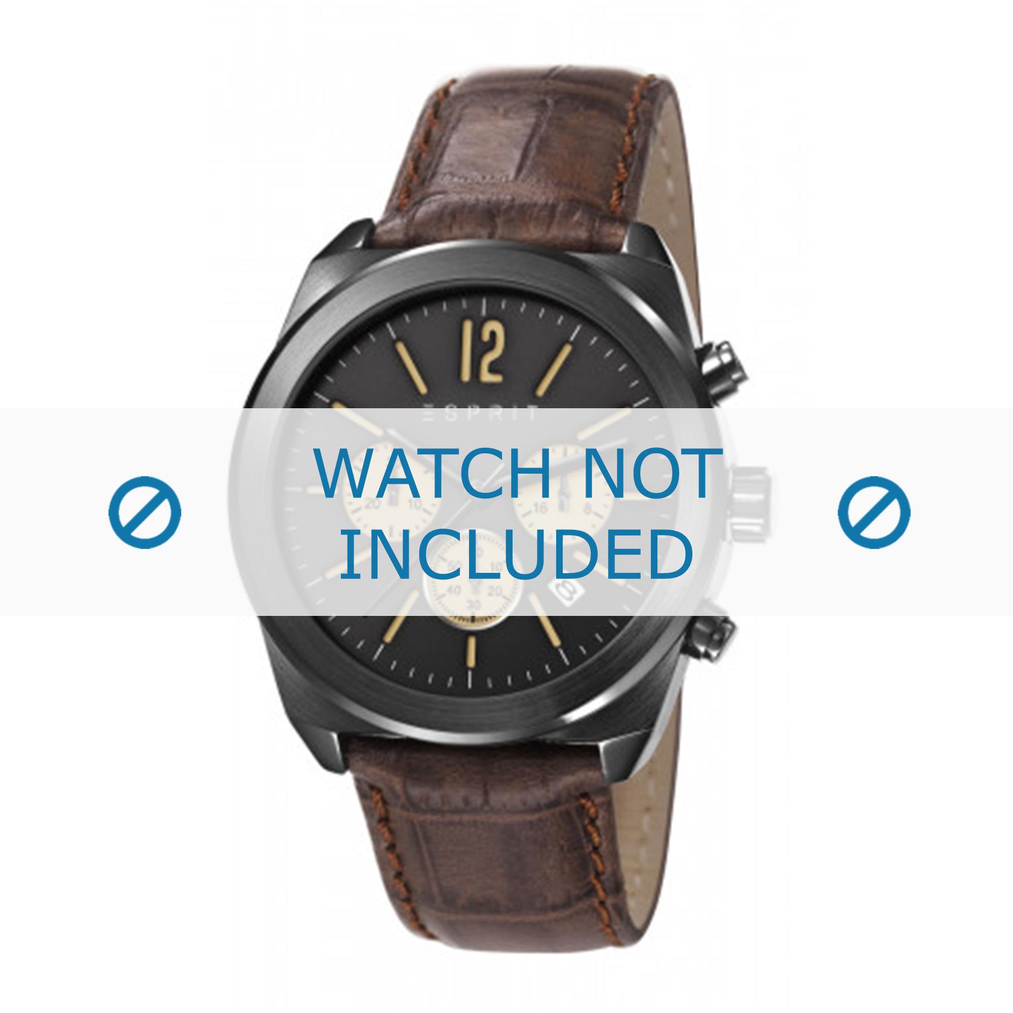 Esprit horlogeband ES107571 / ES107571003-40L Leder Bruin + bruin stiksel