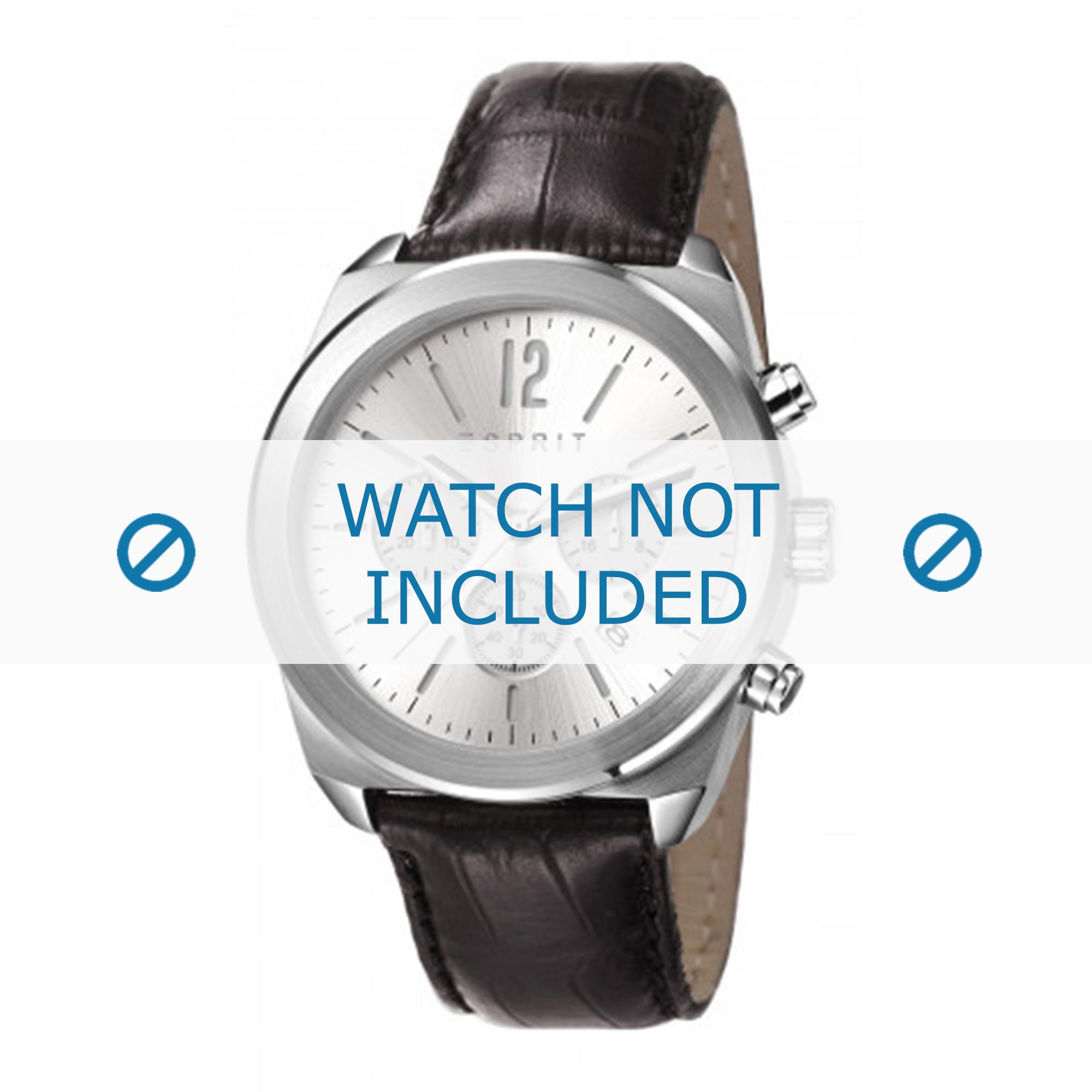 Esprit horlogeband ES107571001-40L Leder Zwart + zwart stiksel