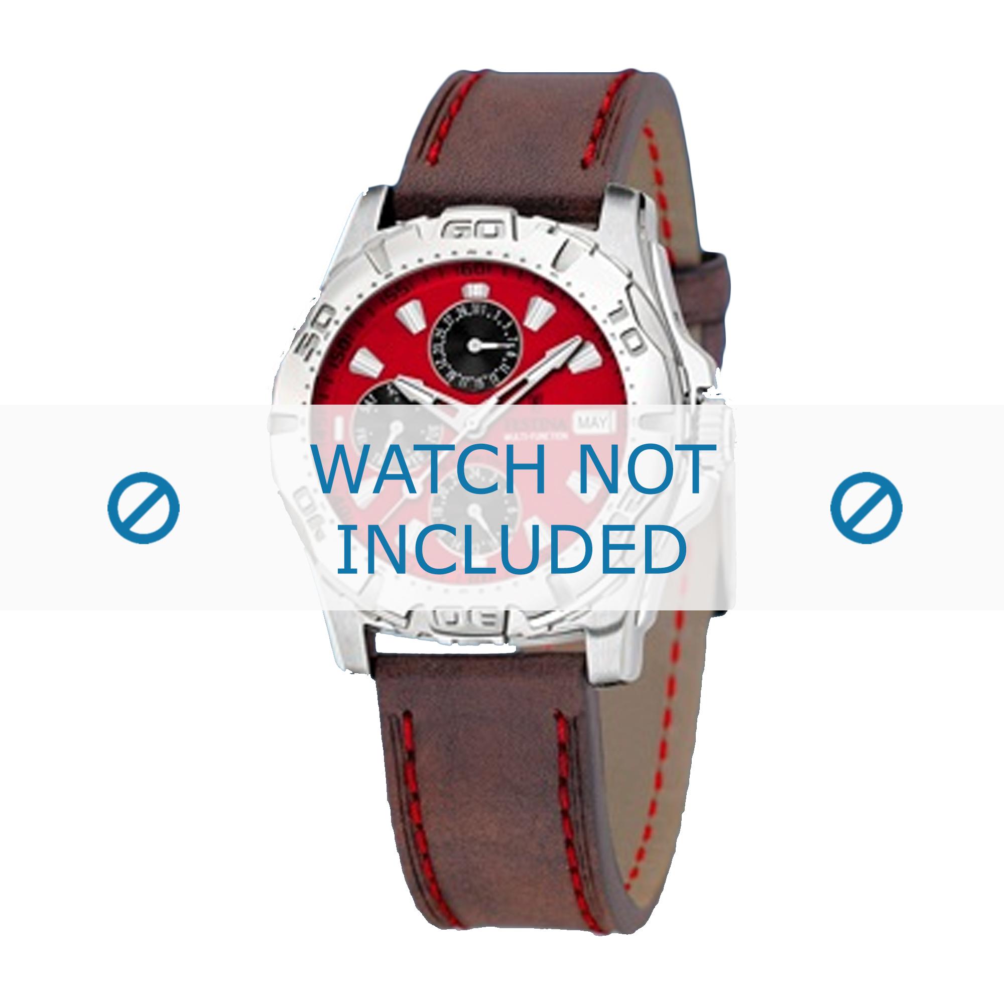 Festina horlogeband F16243/4 Leder Bruin 21mm + rood stiksel