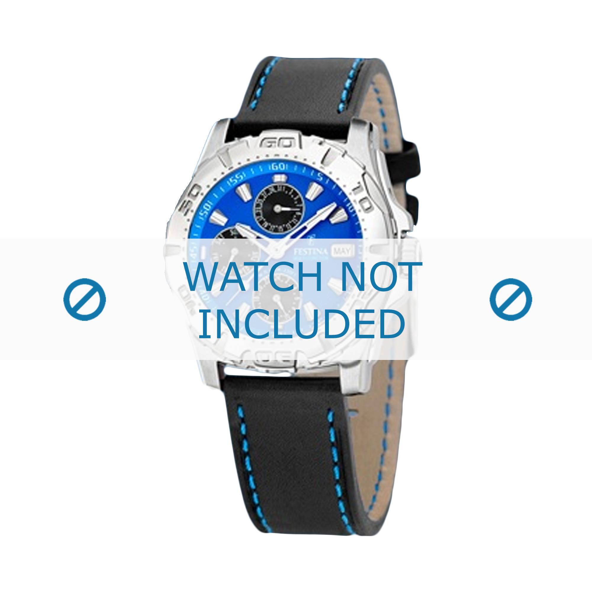 Festina horlogeband F16243/5 Leder Zwart 21mm + blauw stiksel
