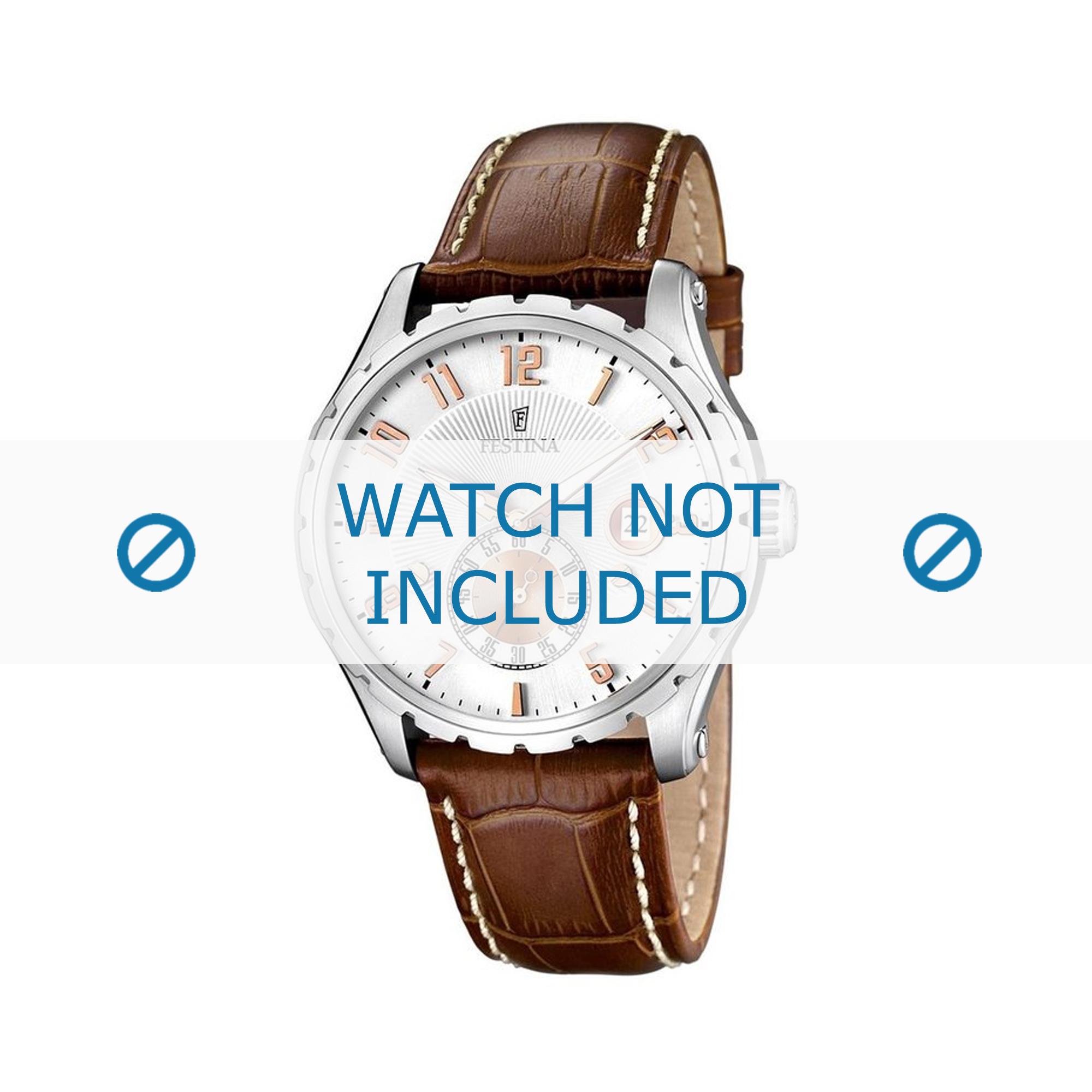 Festina horlogeband F16486/3 Leder Lichtbruin 23mm + wit stiksel