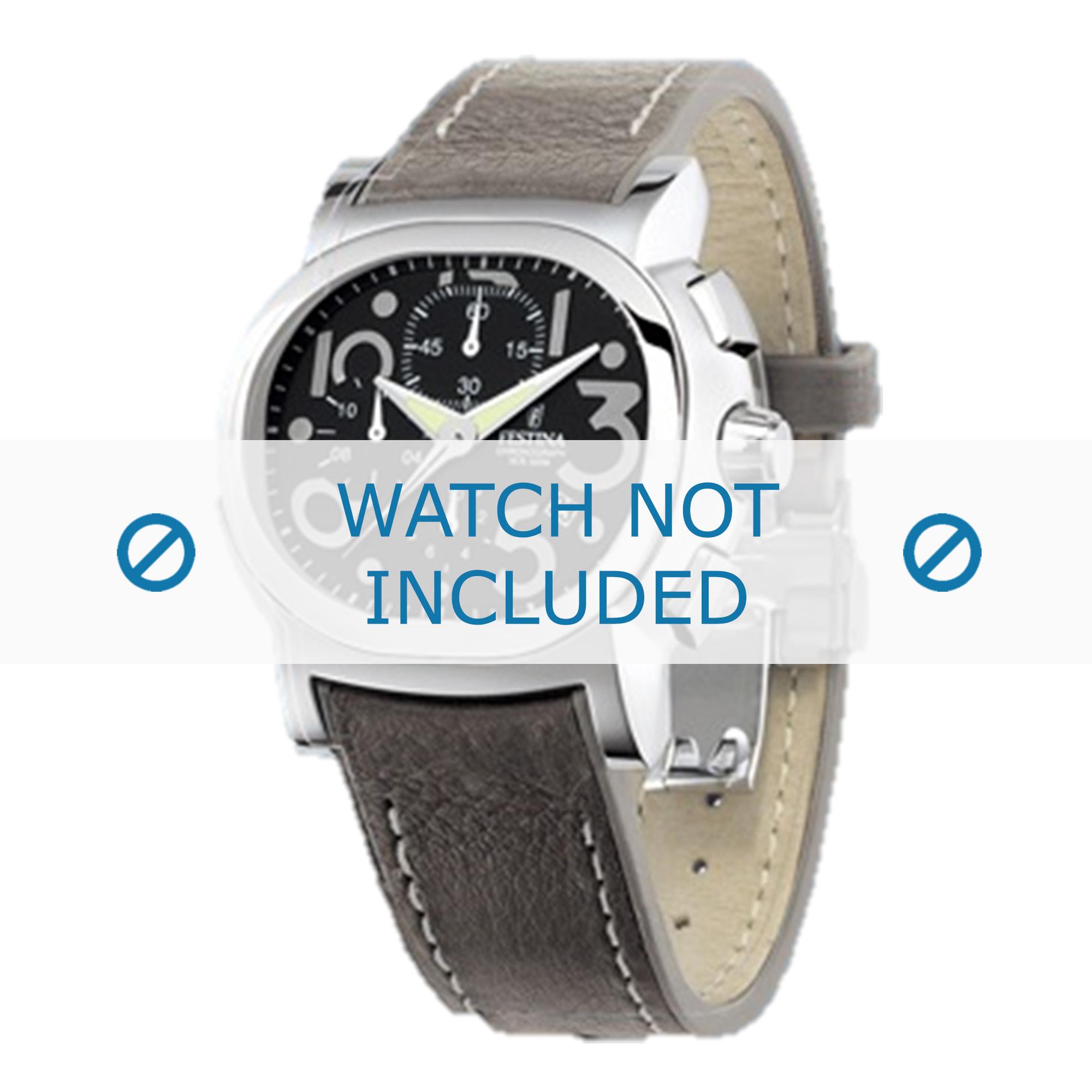 Festina horlogeband F16125.6 Leder Grijs 23mm