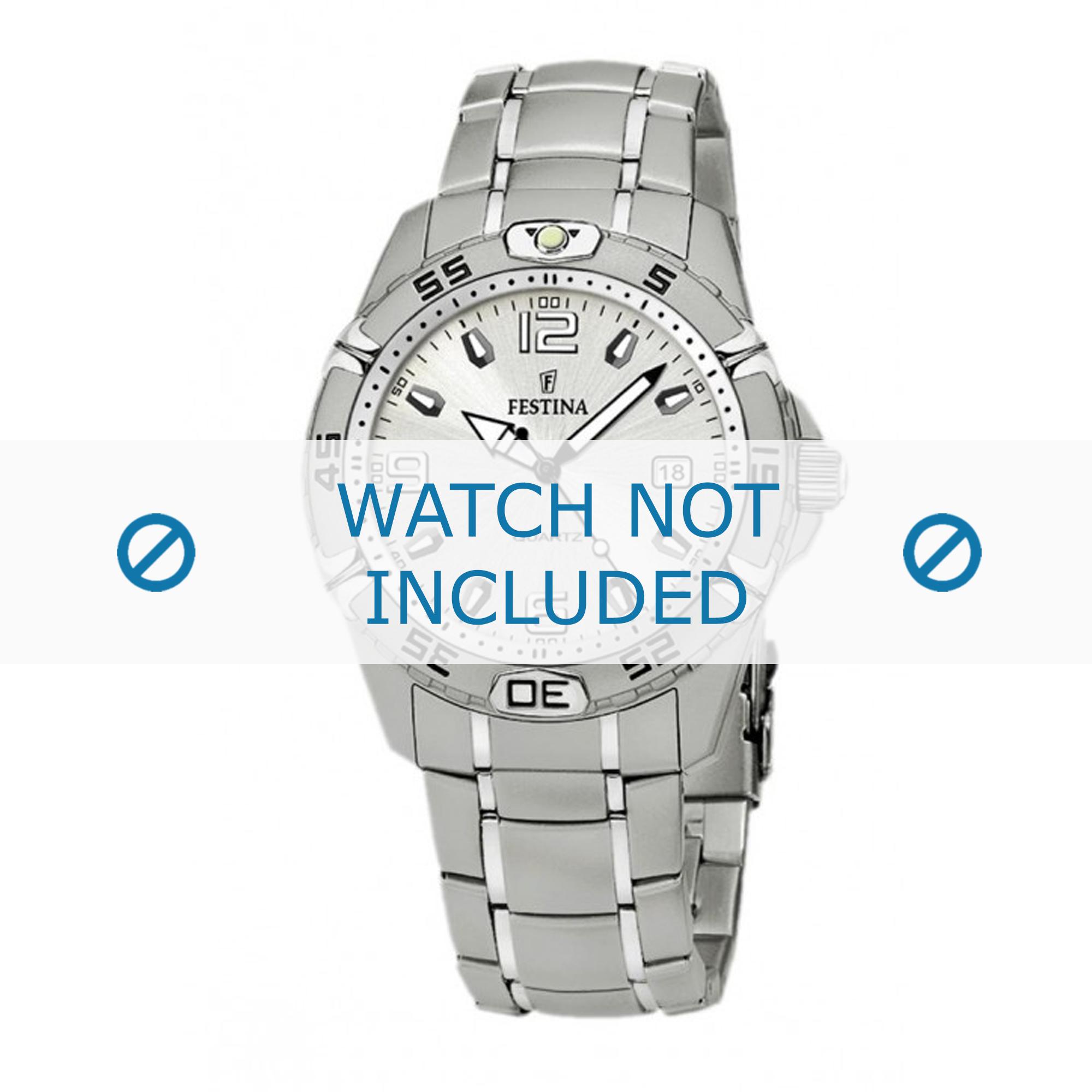 Festina horlogeband F16180/5 Leder Cognac 21mm + wit stiksel