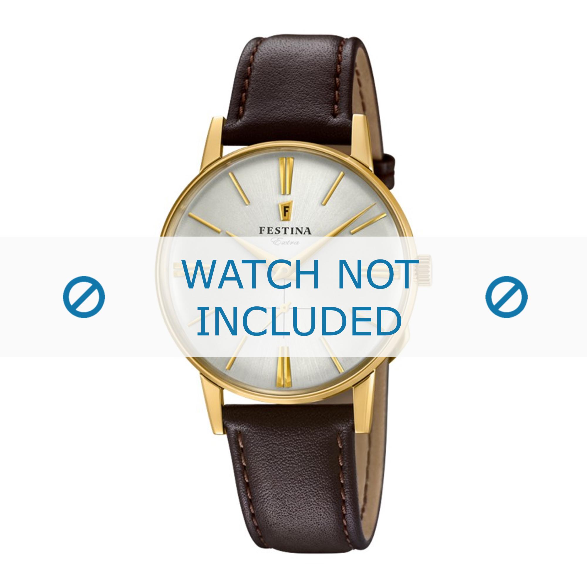 Festina horlogeband F20249-1 Leder Bruin 18mm + bruin stiksel