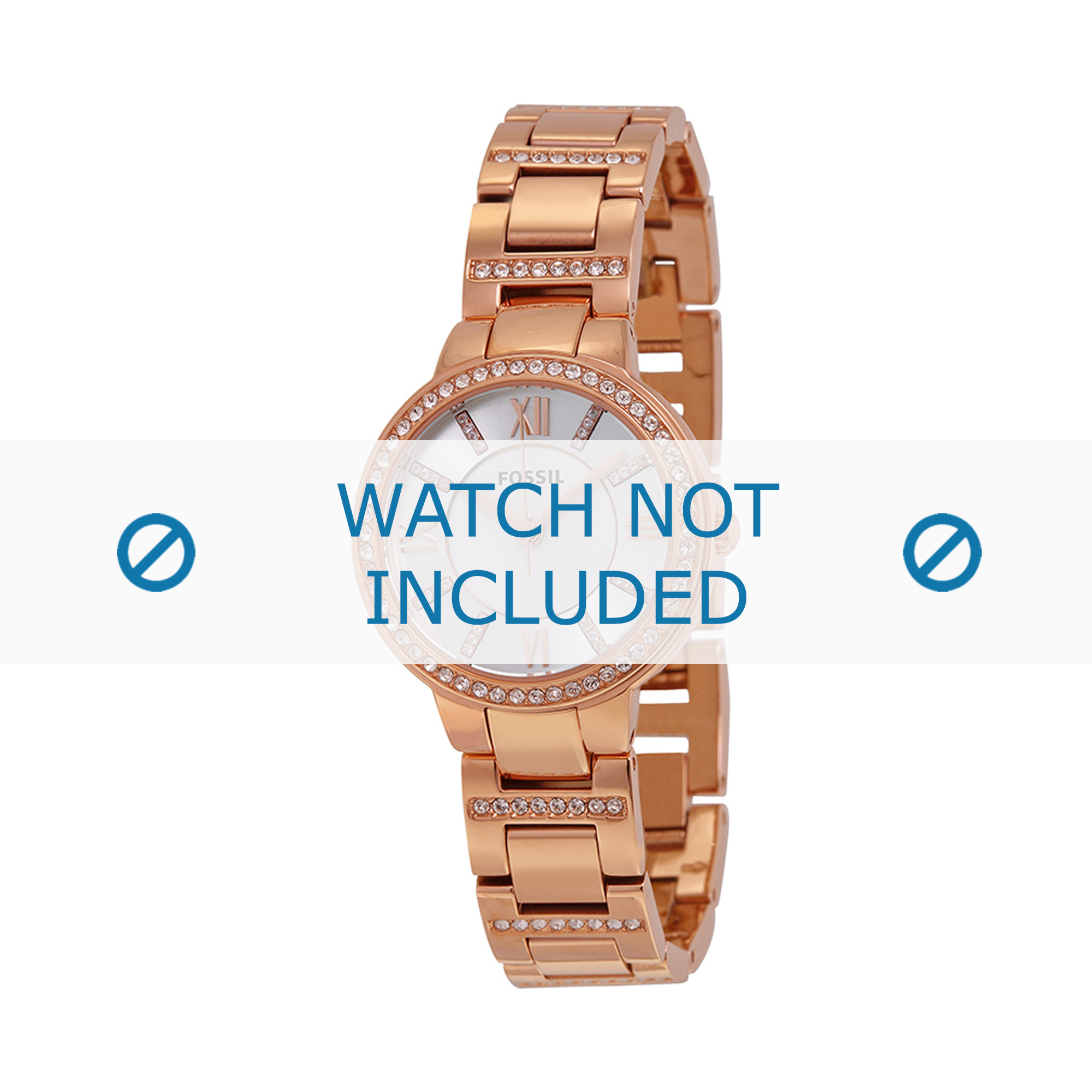 Fossil horlogeband ES-3284 Staal Goud (Rosé) 8mm