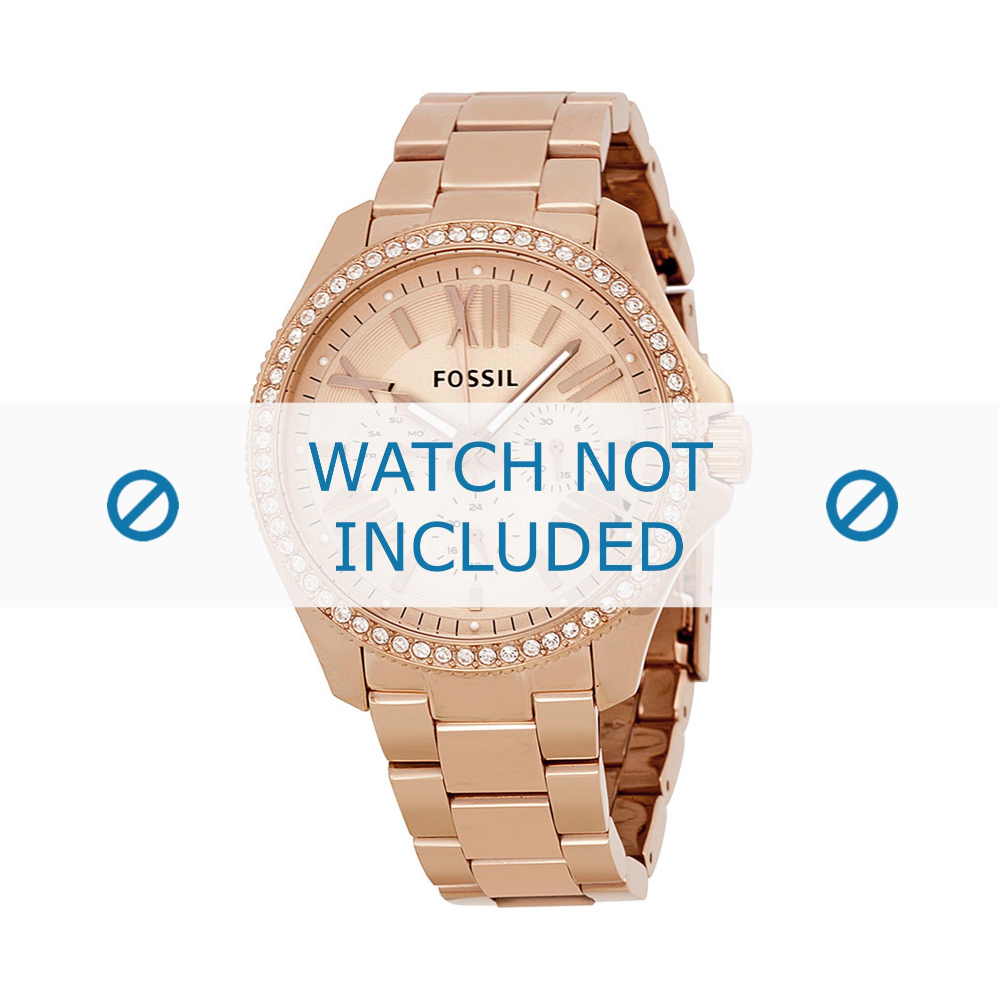 Fossil horlogeband AM-4483 Staal Goud (Rosé) 20mm