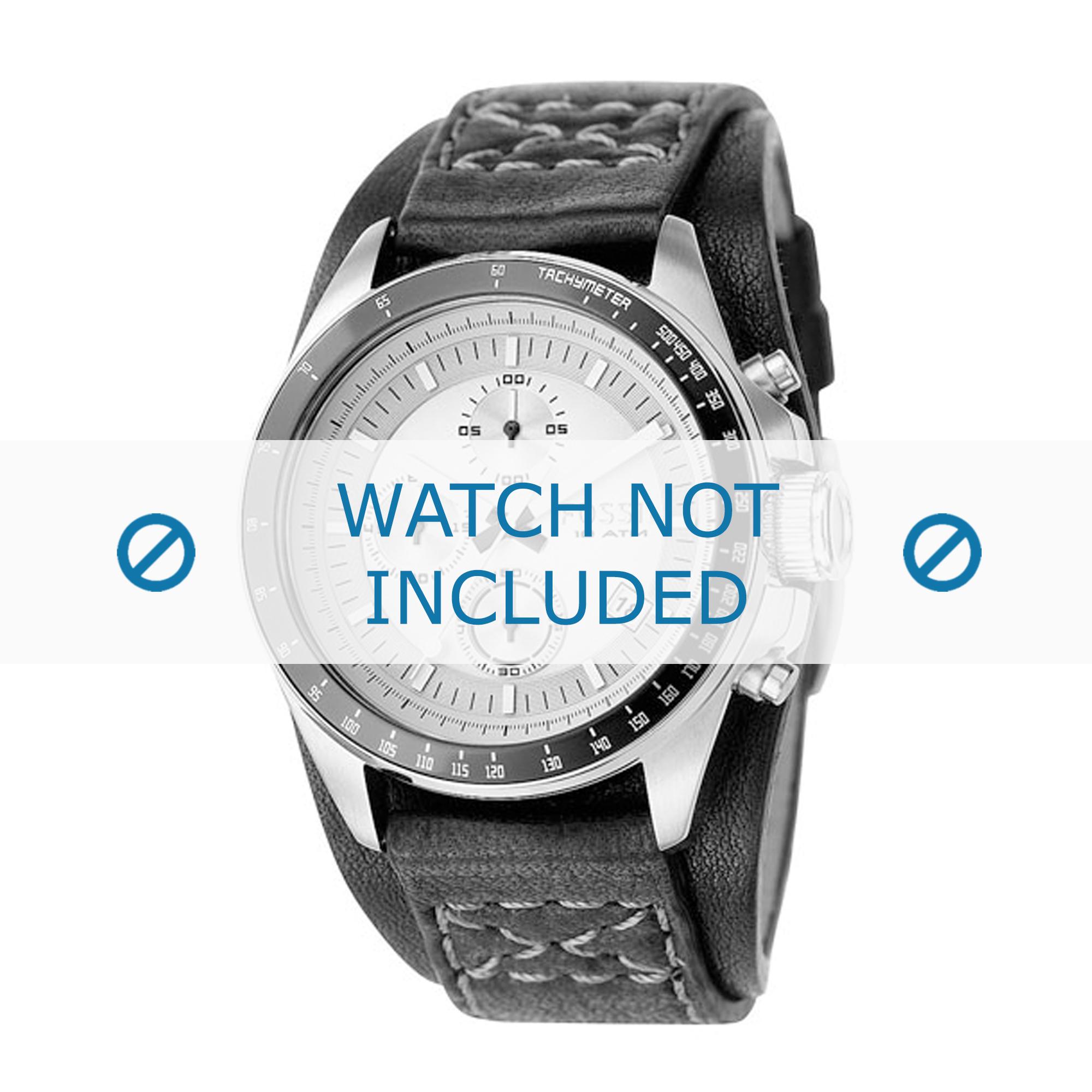 Fossil horlogeband CH2598 Leder Zwart 22mm + grijs stiksel
