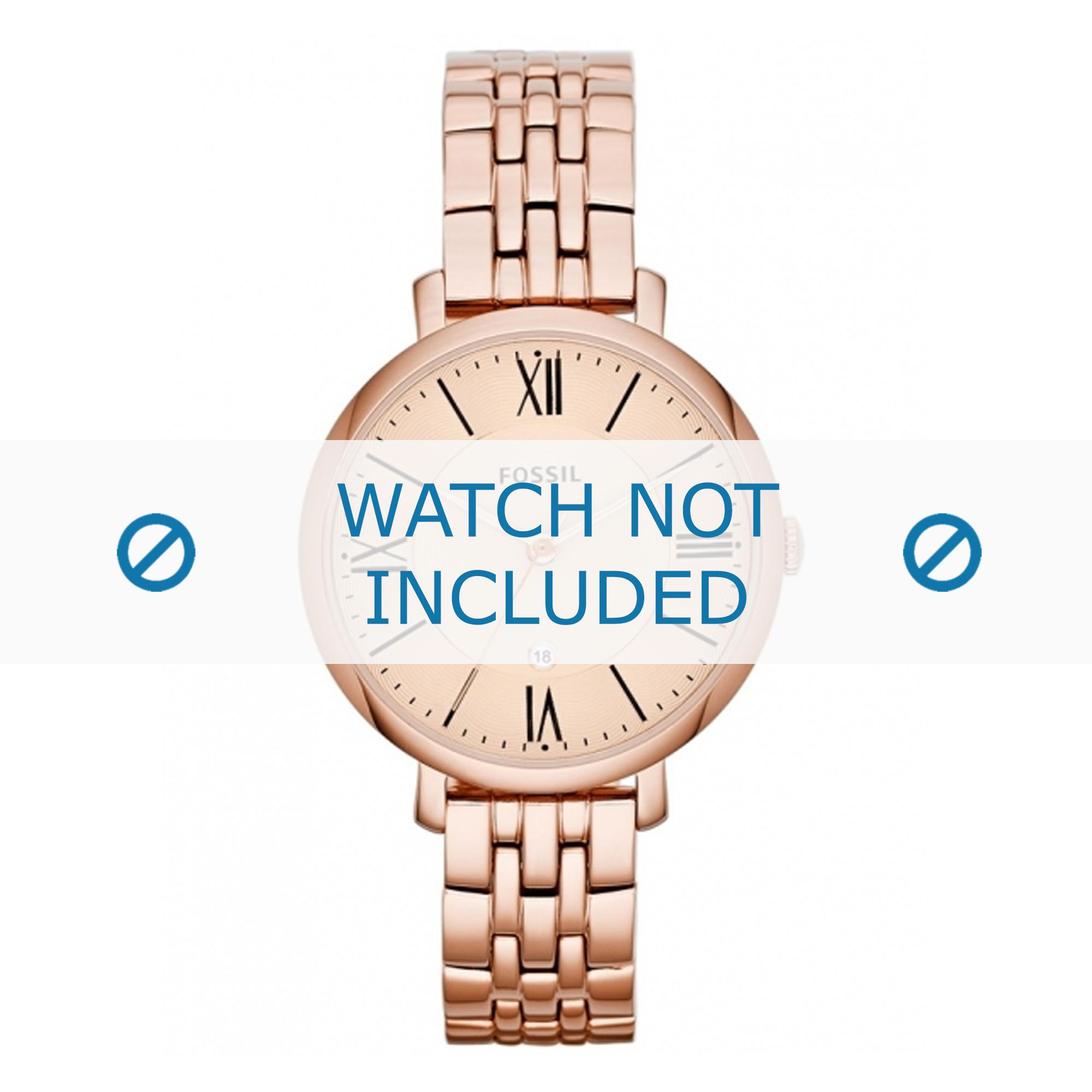 Fossil horlogeband ES-3435 Staal Goud (Rosé) 14mm