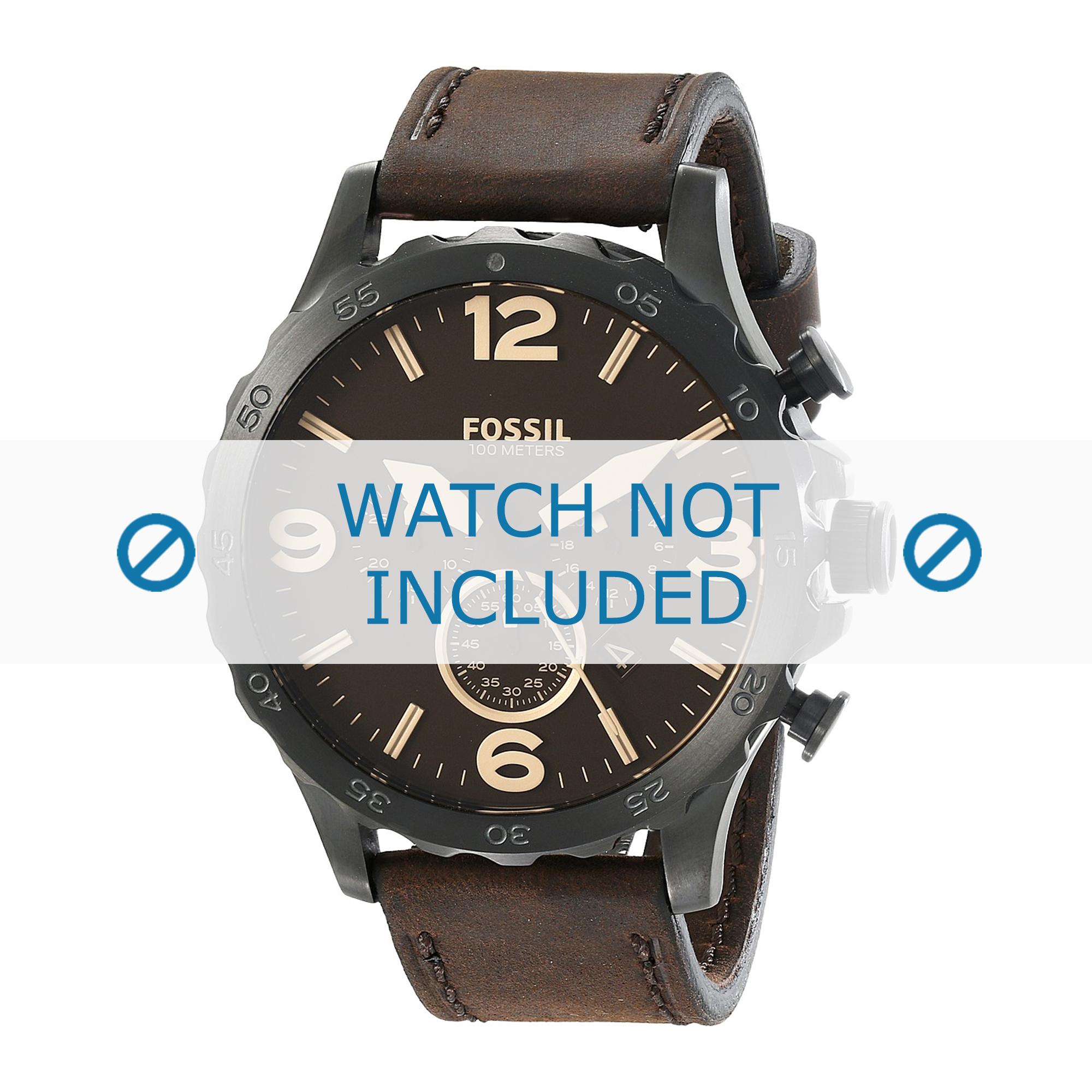 Fossil horlogeband JR-1487 Leder Bruin 24mm