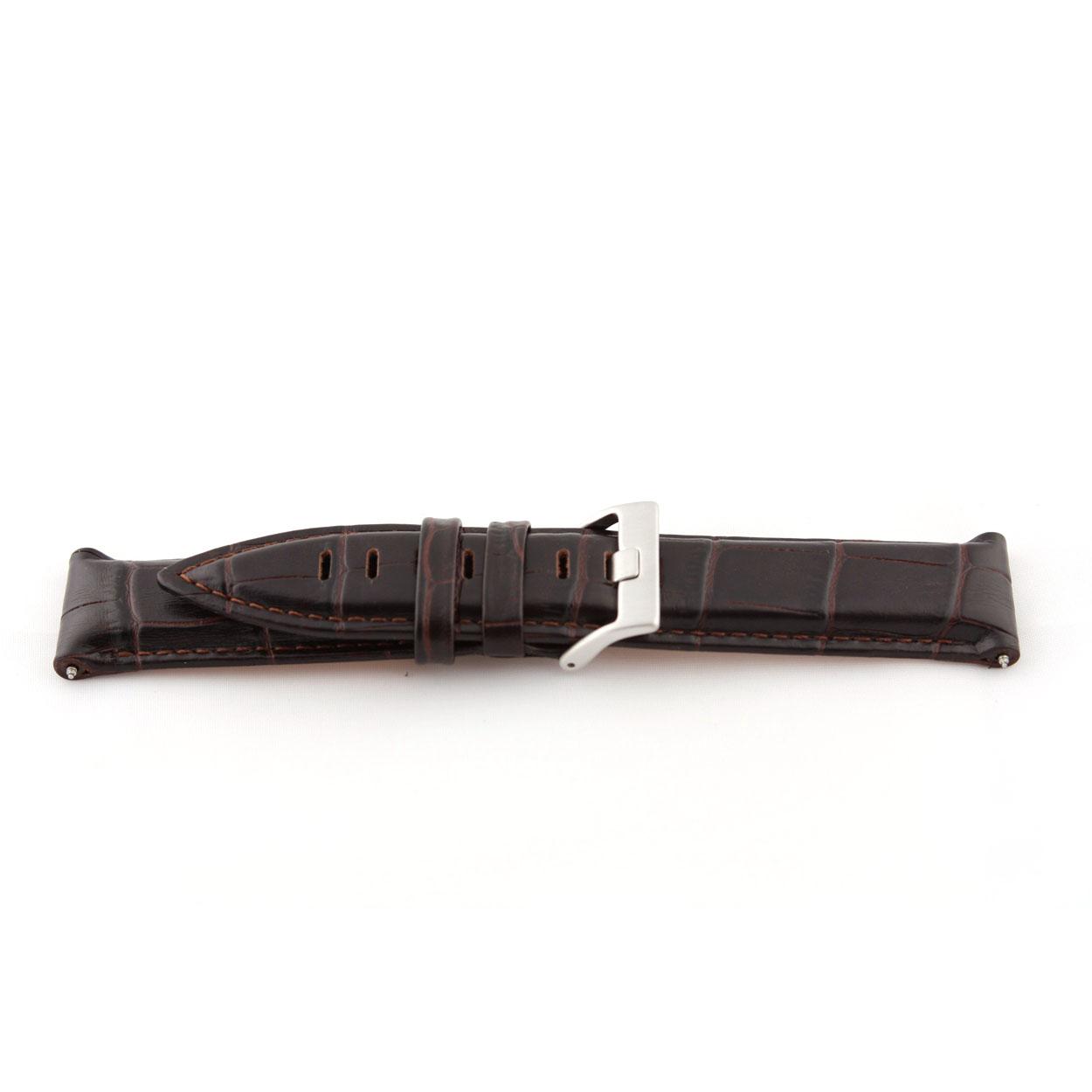 Echt lederen horloge band donker croco bruin 22mm EX-G119