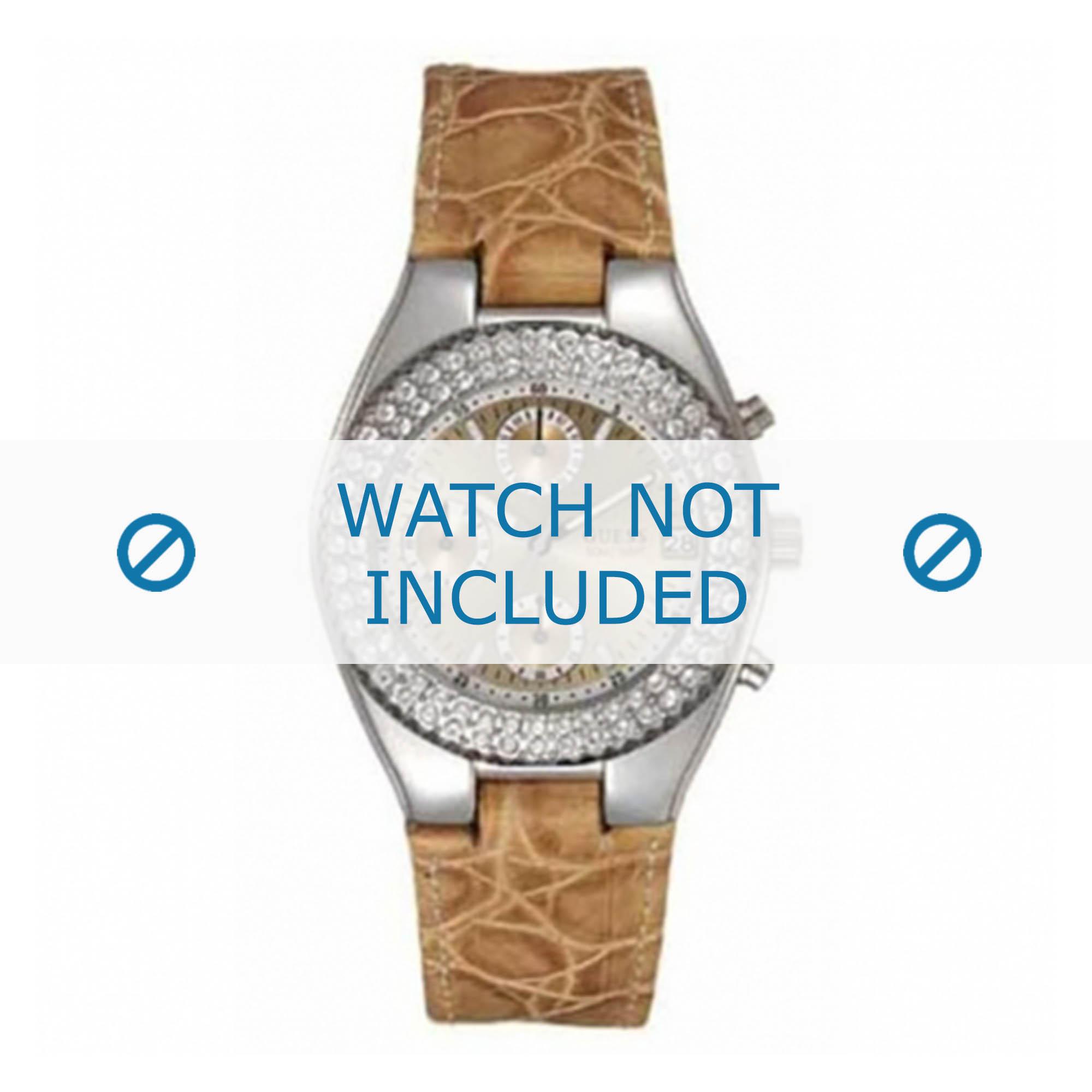 Guess horlogeband 15059L9 Leder Beige 10mm + bruin stiksel