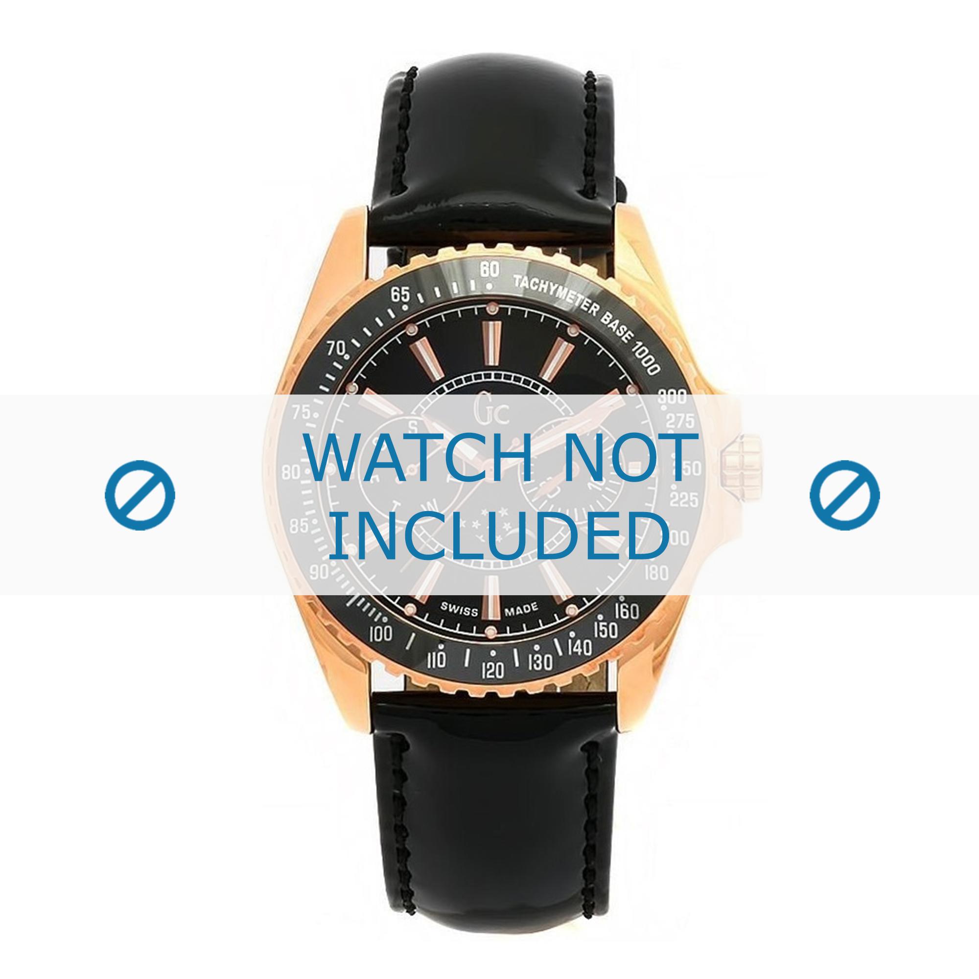 Guess horlogeband GC41006M2 Leder Zwart + zwart stiksel