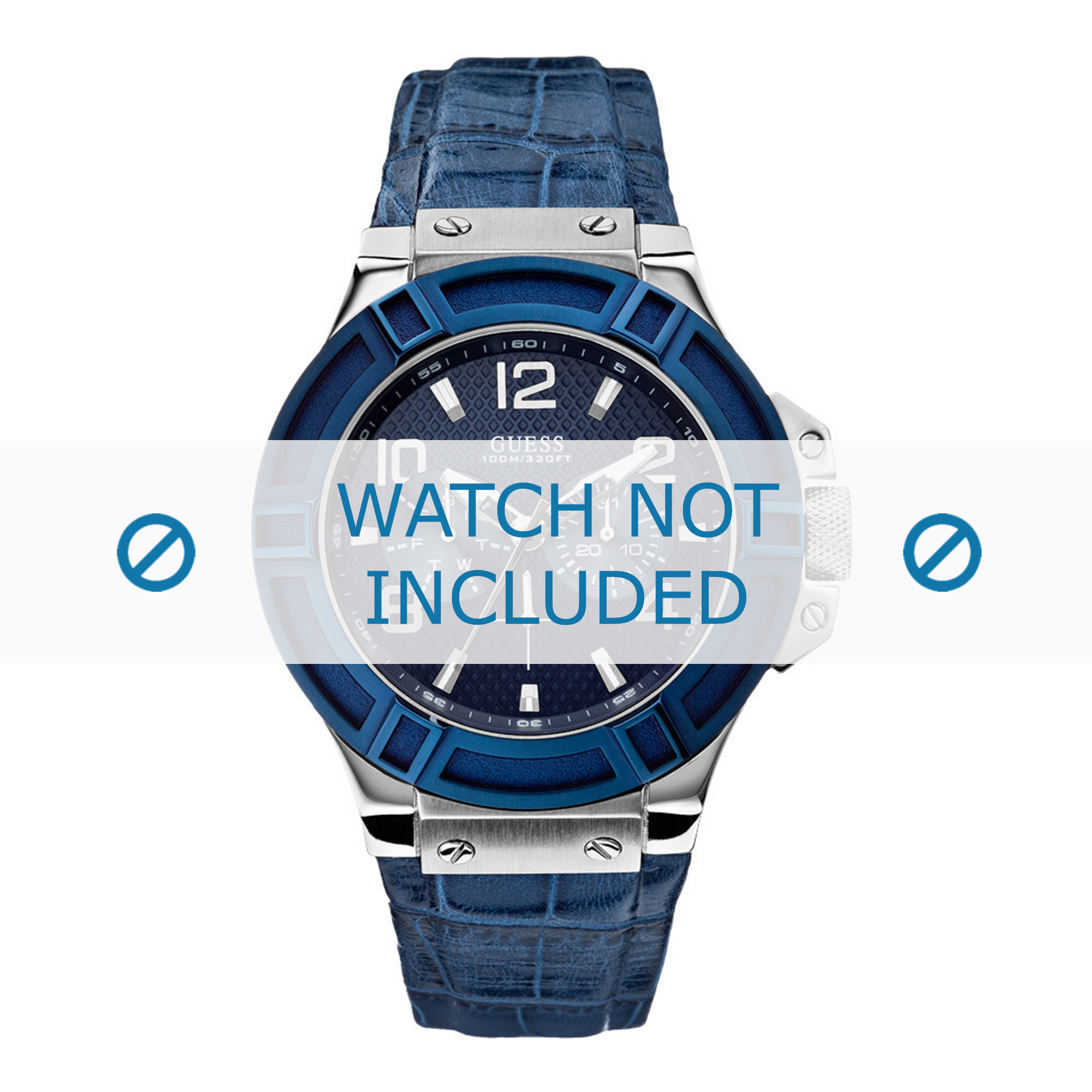 Guess horlogeband W0040G7 Croco leder Blauw 22mm