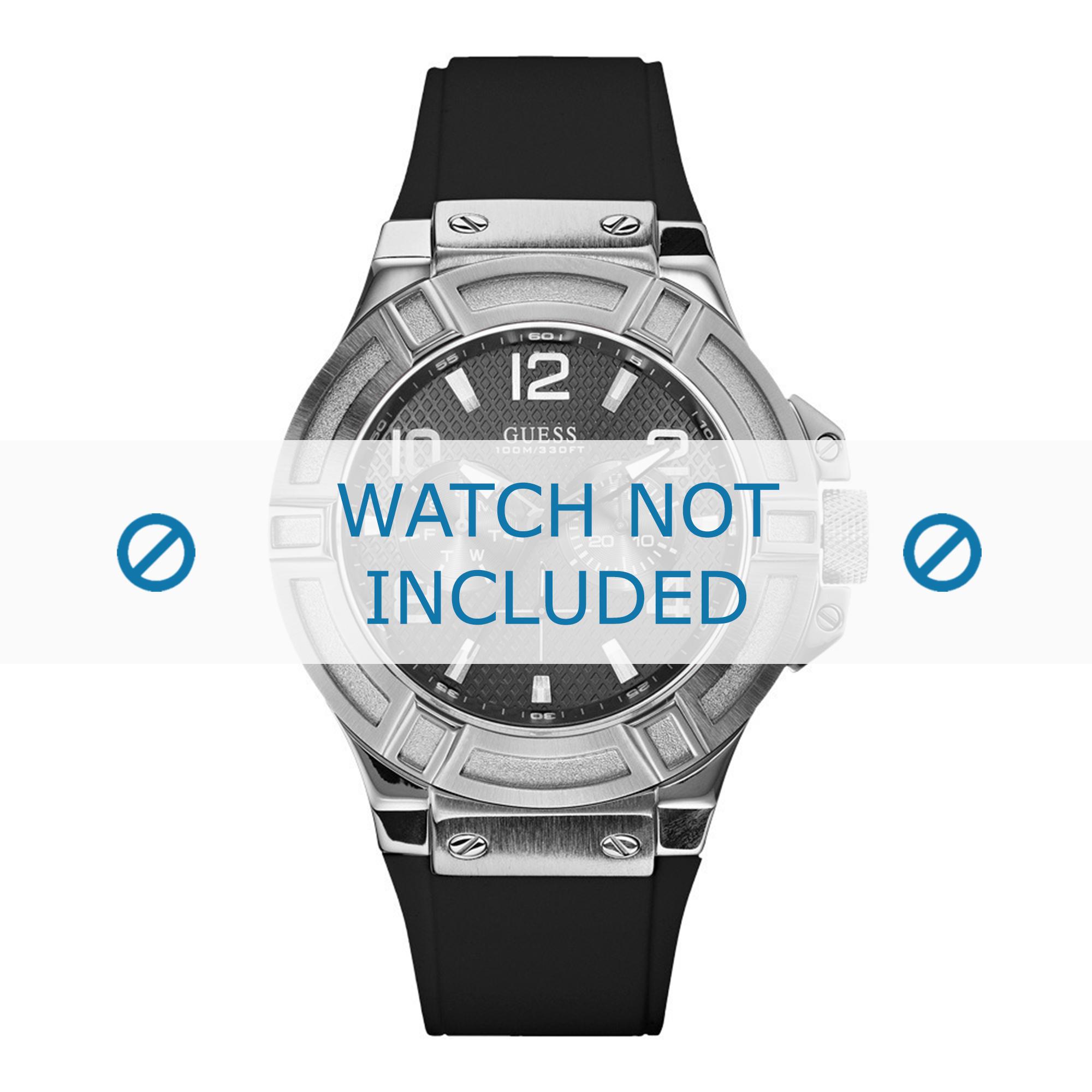 Guess horlogeband W0247G4 / U0247G4 Silicoon Zwart 22mm