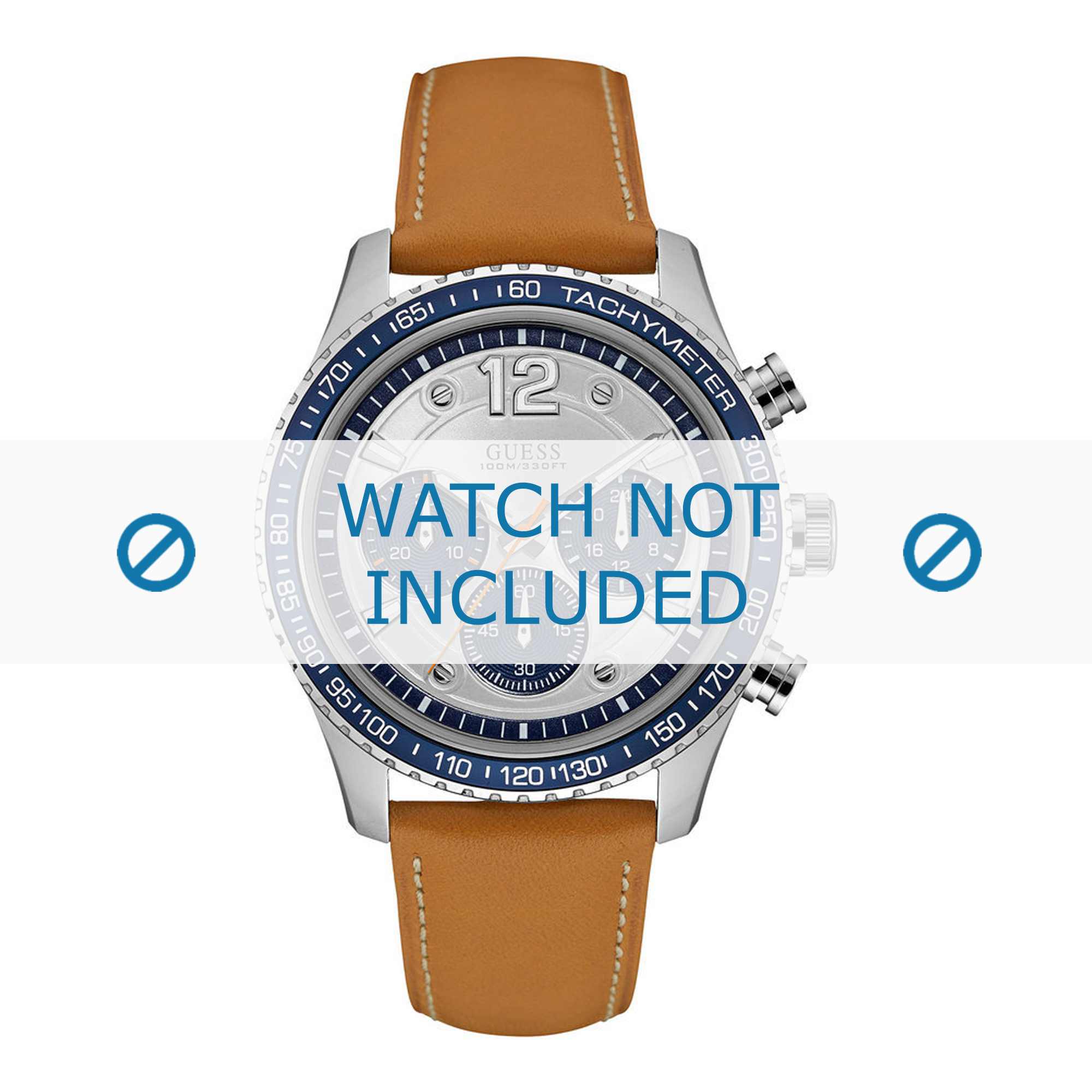 Guess horlogeband W0970G1 Mens Fleet Leder Bruin 22mm + wit stiksel