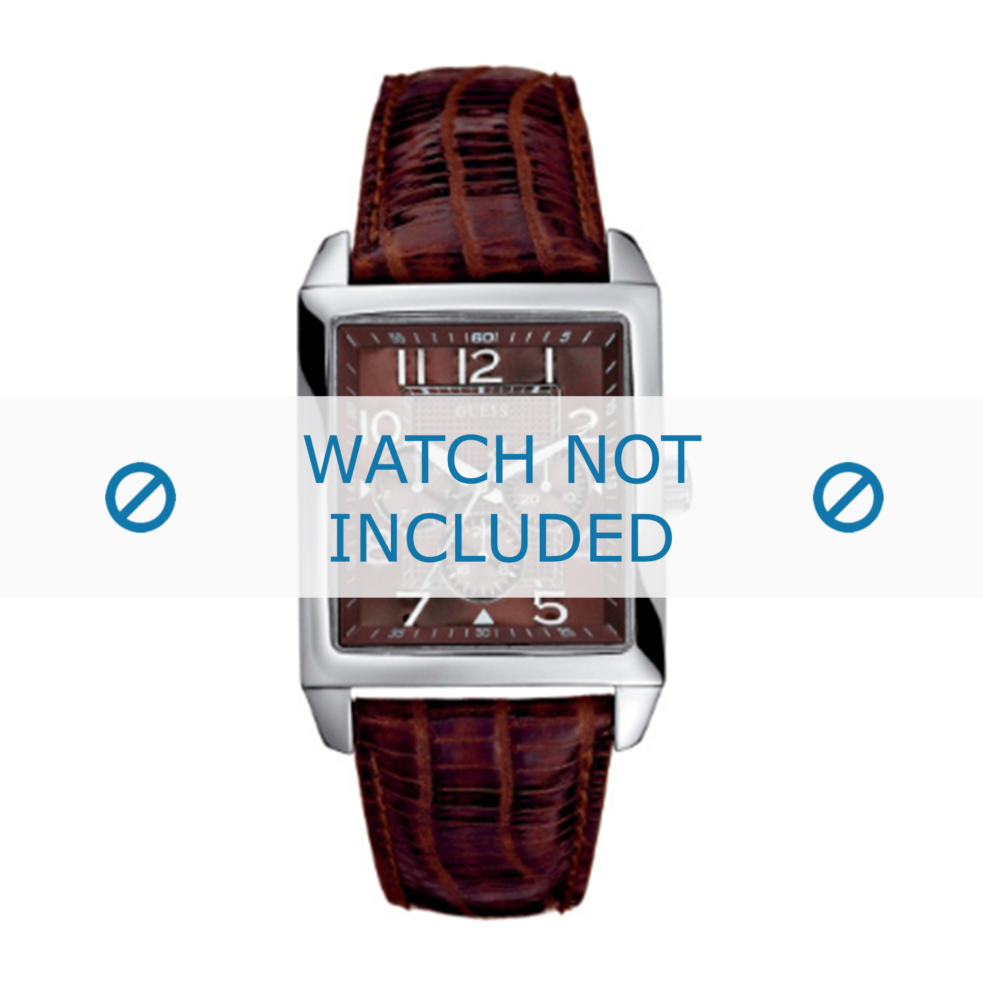 Guess horlogeband W95014G1 Leder Bruin + bruin stiksel