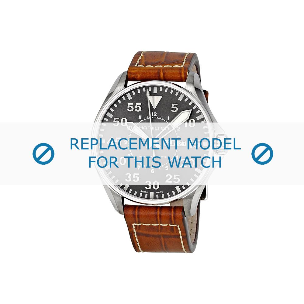 Hamilton (vervangend model) horlogeband Khaki Pilot - H64715885 Leder Lichtbruin 22mm + wit stiksel
