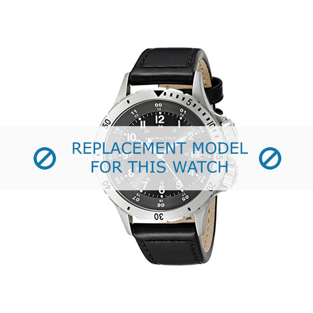 Hamilton (vervangend model) horlogeband Khaki Field - H74451833 Leder Zwart 20mm + zwart stiksel