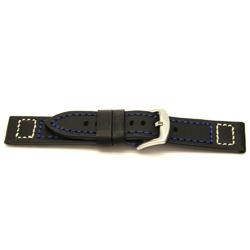 Echt leder horlogeband zwart 22mm / H104