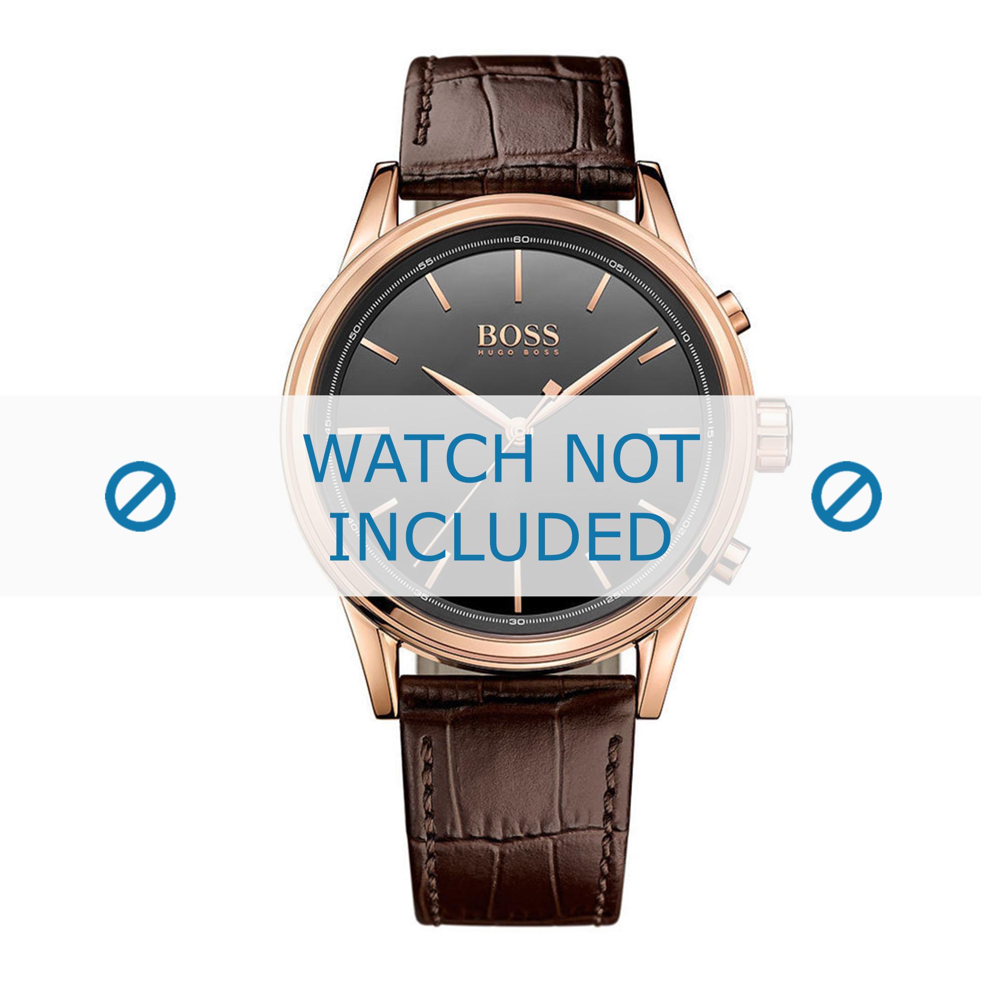 Hugo Boss horlogeband HB-295-1-34-2949-HB1513451 Croco leder Bruin + bruin stiksel