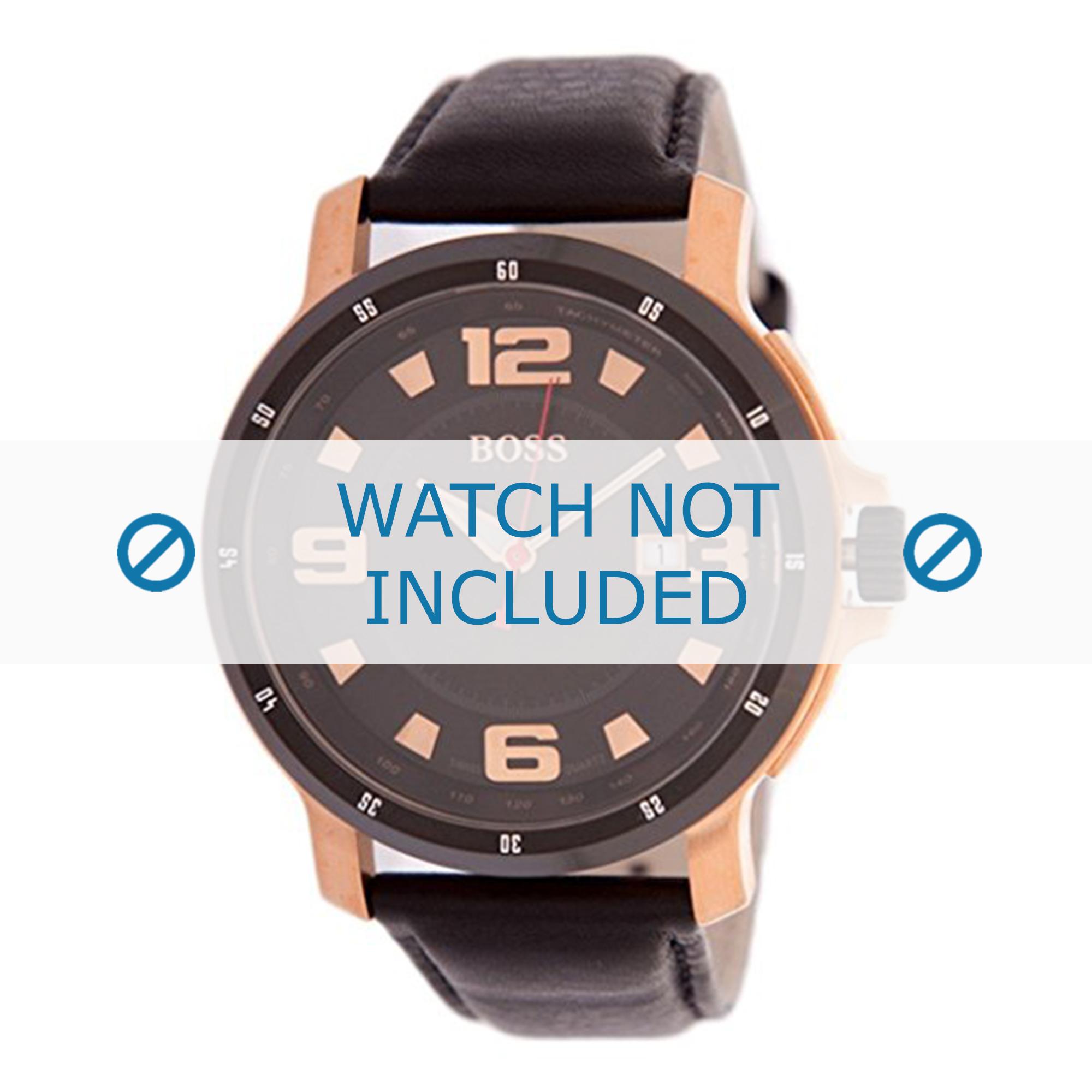 Hugo Boss horlogeband 1512507 / HB-94-1-34-2215 / HB659302203 Leder Zwart 24mm + zwart stiksel