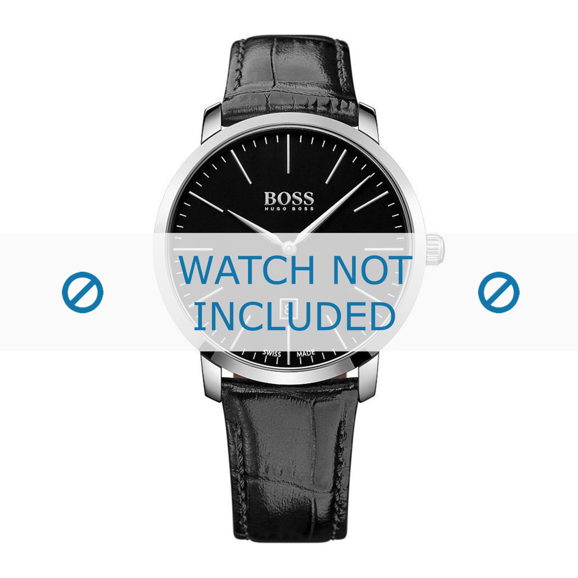 Hugo Boss horlogeband HB-273-1-14-2823-HB1513258 Croco leder Zwart + zwart stiksel