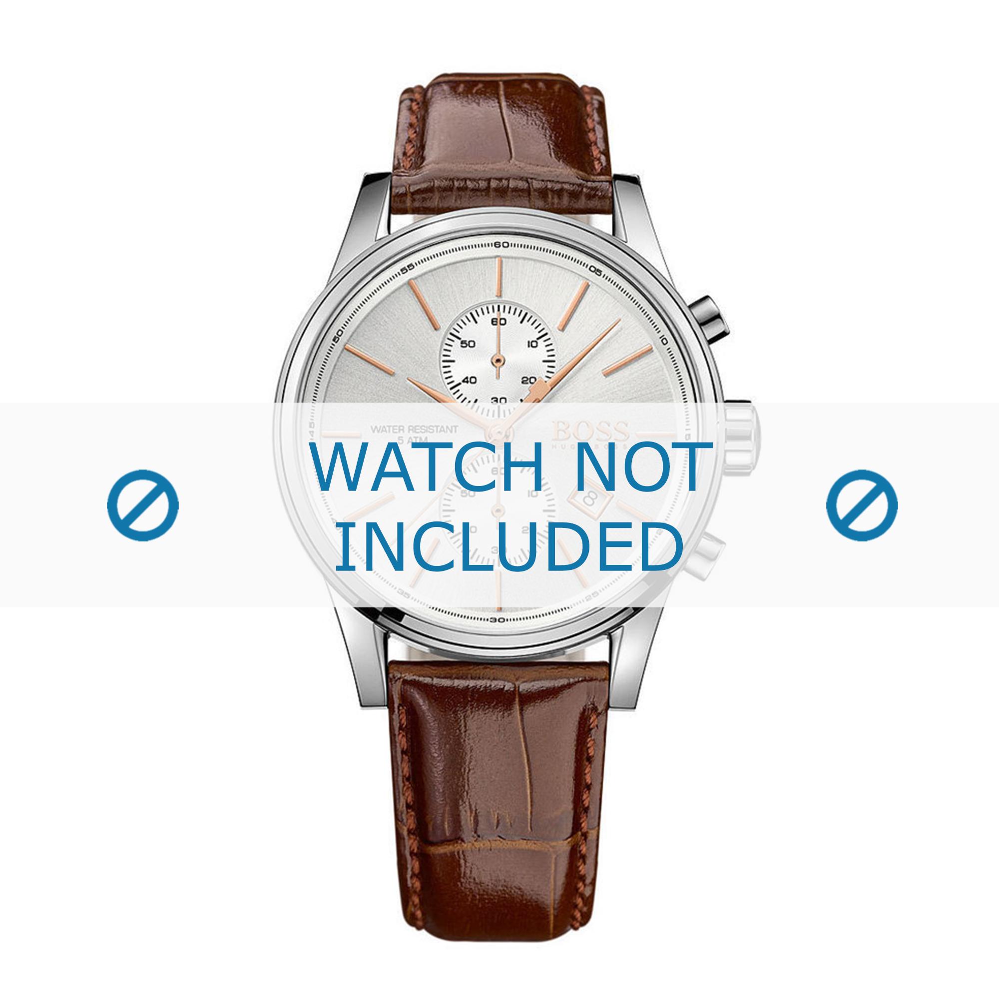 Hugo Boss horlogeband HB-275-1-14-2846-HB1513280 Croco leder Bruin + bruin stiksel