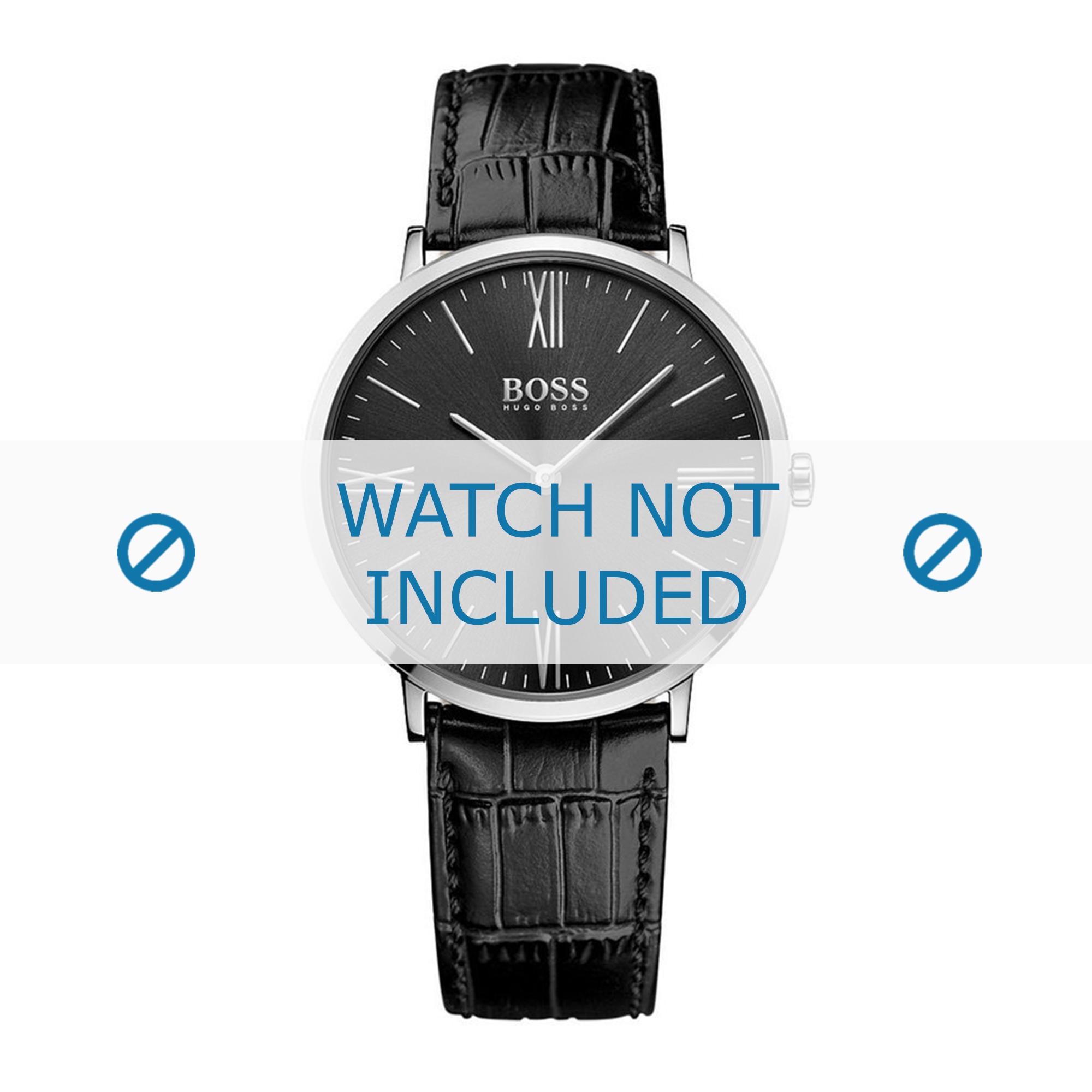 Hugo Boss horlogeband HB-286-1-14-2893-HB1513369 Croco leder Zwart + zwart stiksel