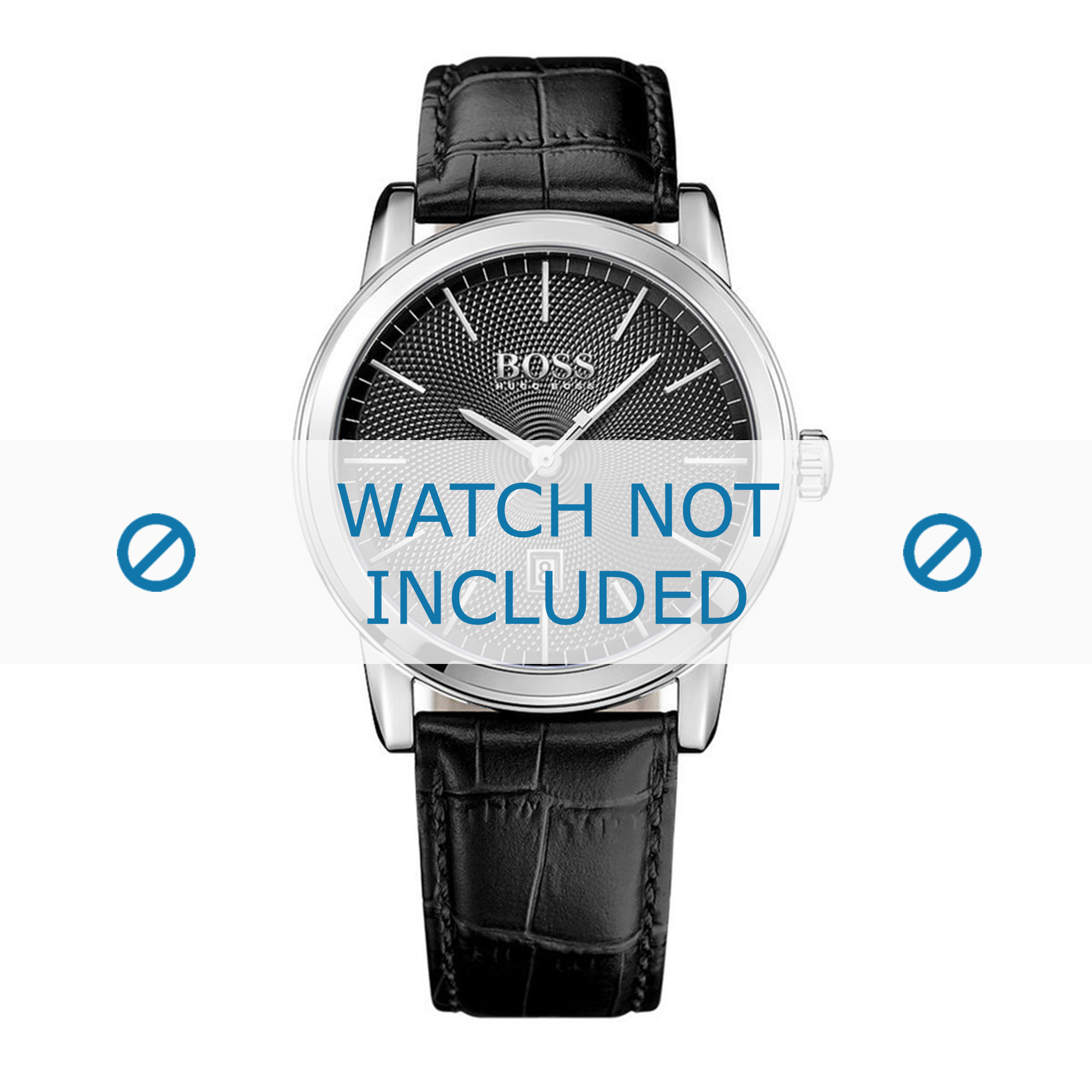 Hugo Boss horlogeband HB-287-1-14-2921-HB1513397 Croco leder Zwart + zwart stiksel