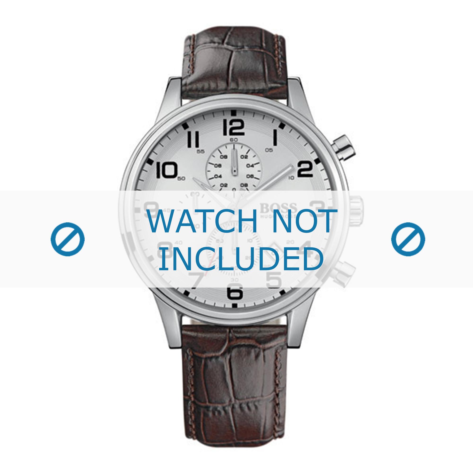 Hugo Boss horlogeband HB-88-1-14-2194-HB1512447 Croco leder Bruin 22mm + grijs stiksel