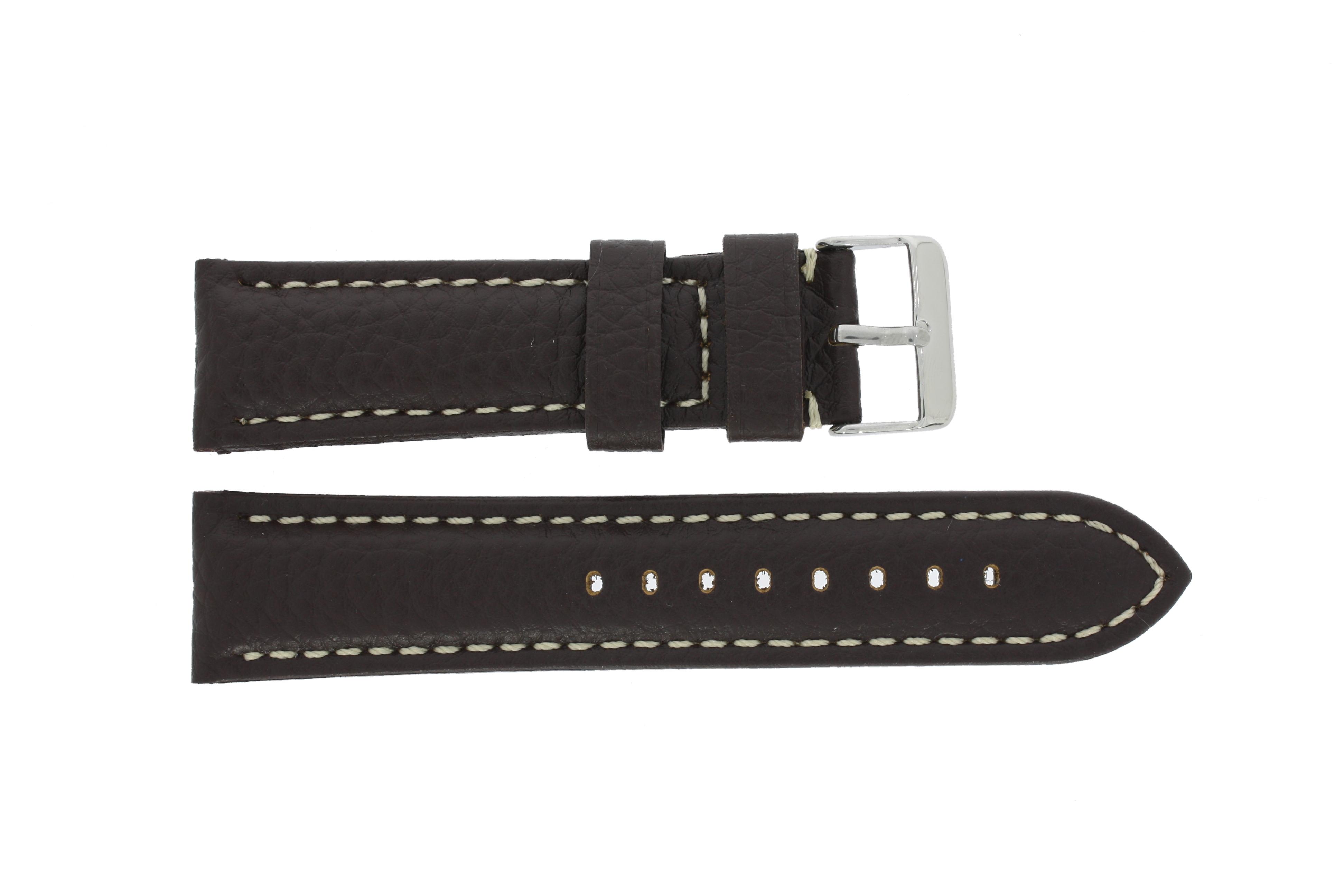 Horlogeband G038 XL Leder Donkerbruin 20mm + wit stiksel