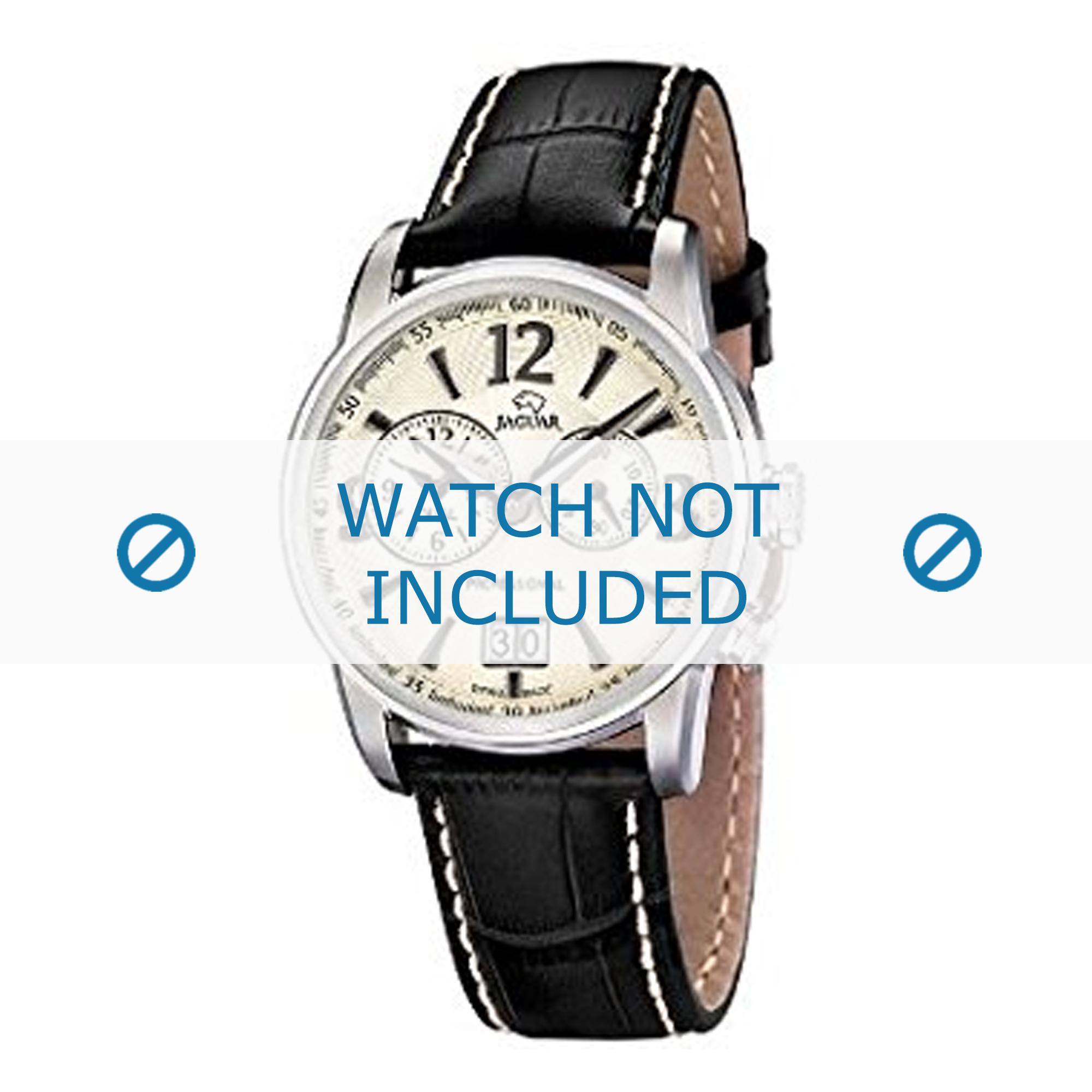 Jaguar horlogeband J619/3 Leder Zwart 22mm + wit stiksel