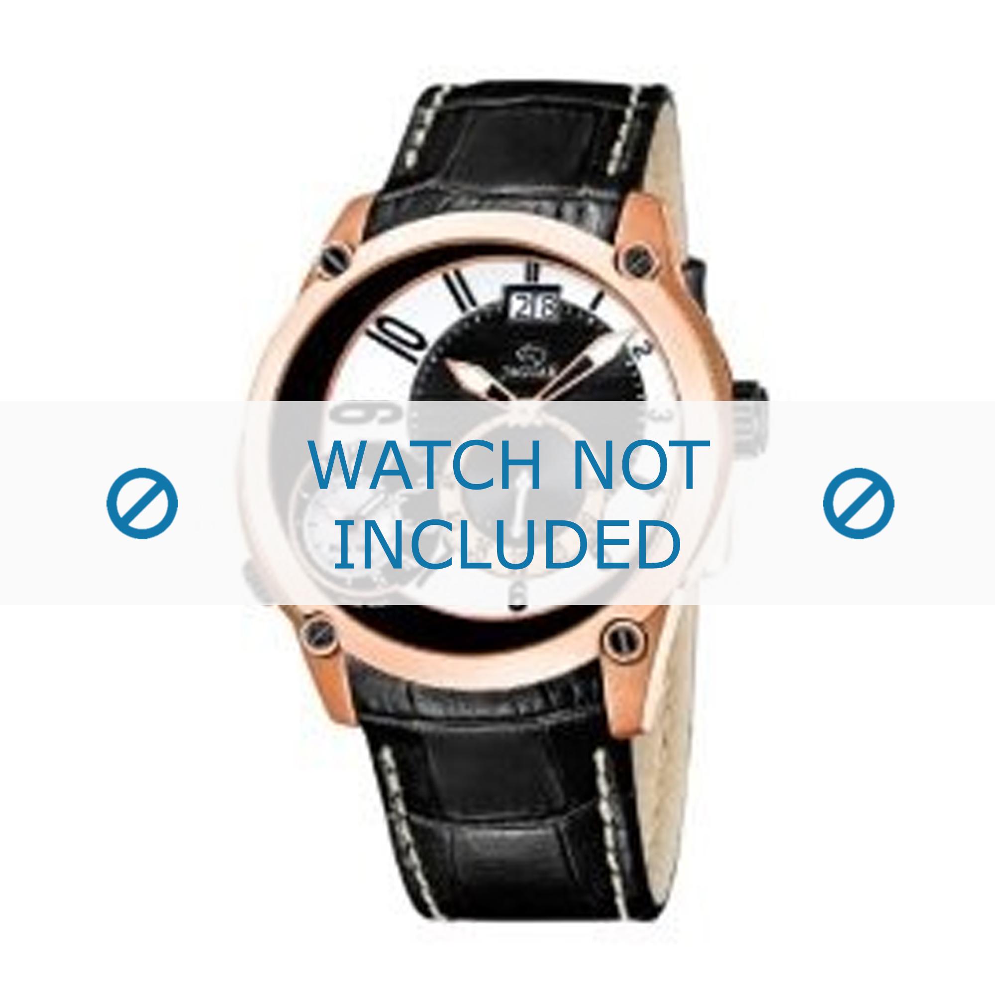 Jaguar horlogeband Leder zwart J631/2 24mm