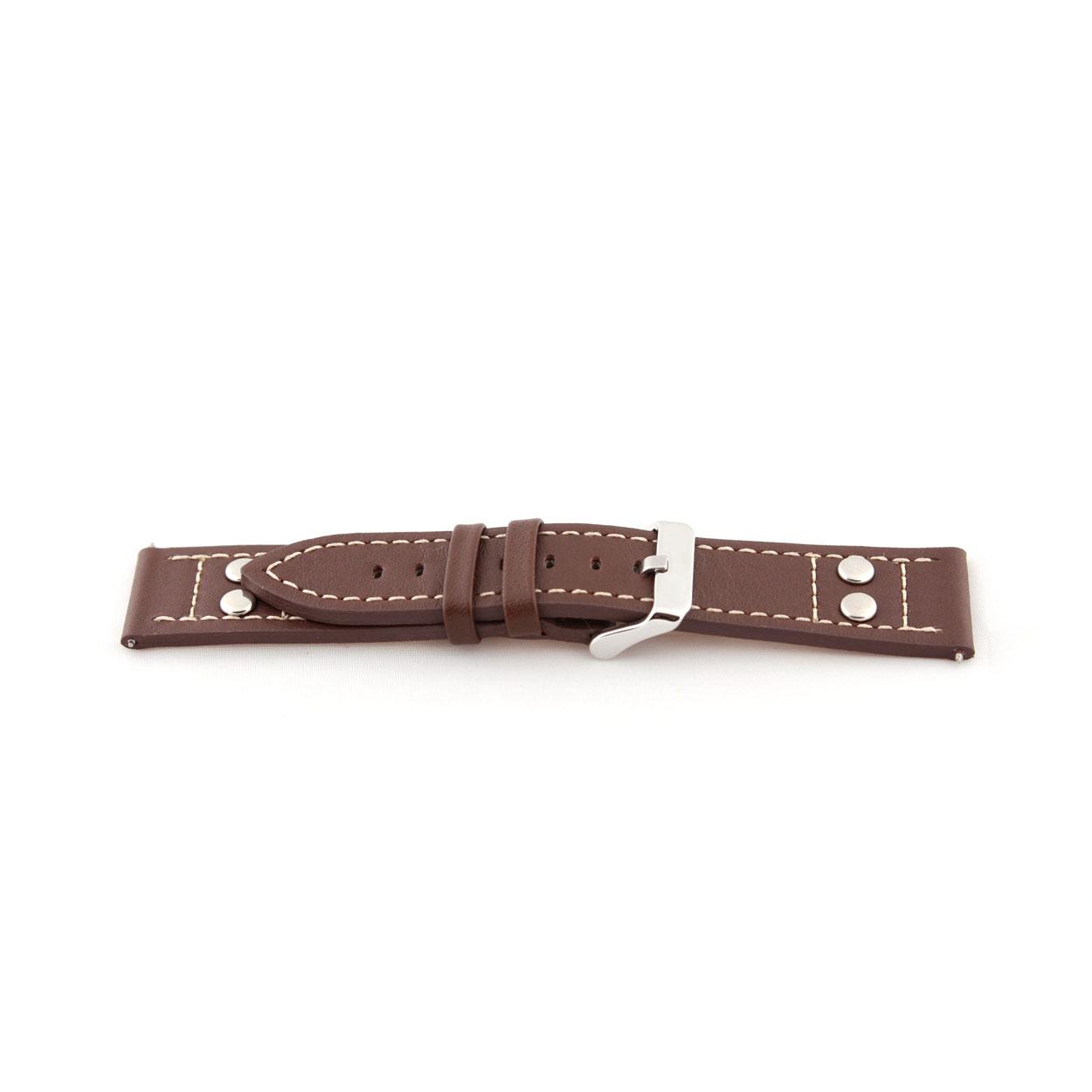 Buffalo kalf horlogeband bruin met studs ''gladde structuur'' 20mm K-469