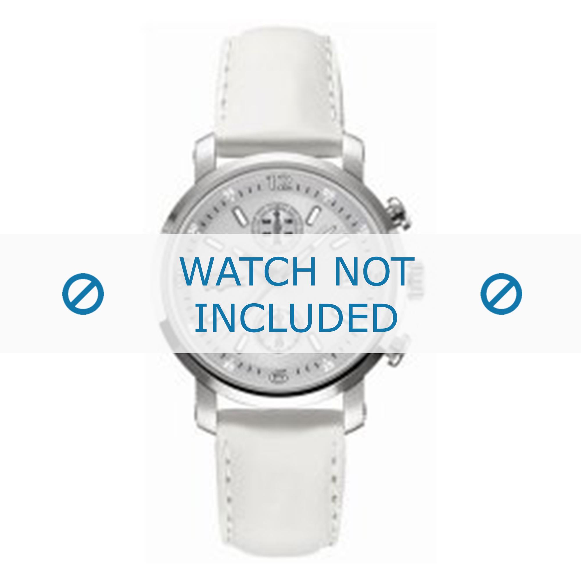 Lacoste horlogeband LC-12-3-14-0079 / 2000392 Leder Wit + wit stiksel