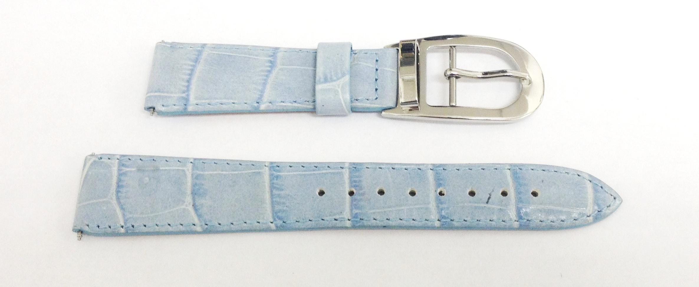 Echt lederen horloge band 18mm Licht blauw