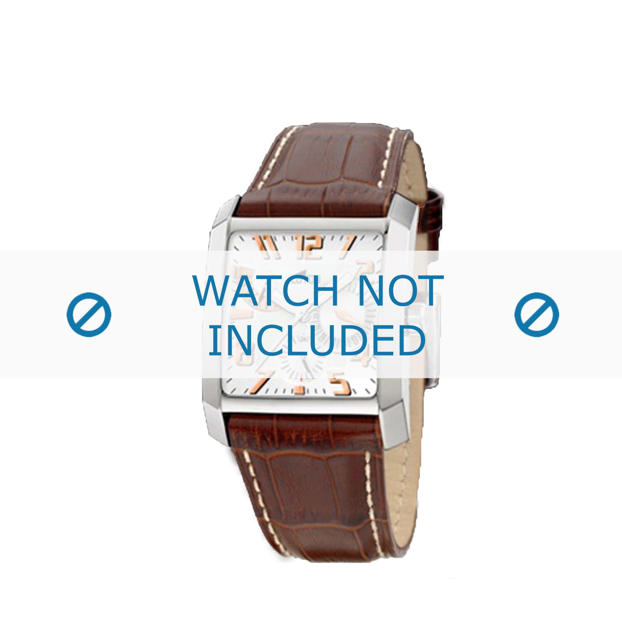 Lotus horlogeband 15411.1 / 15411.7 Leder Bruin + wit stiksel