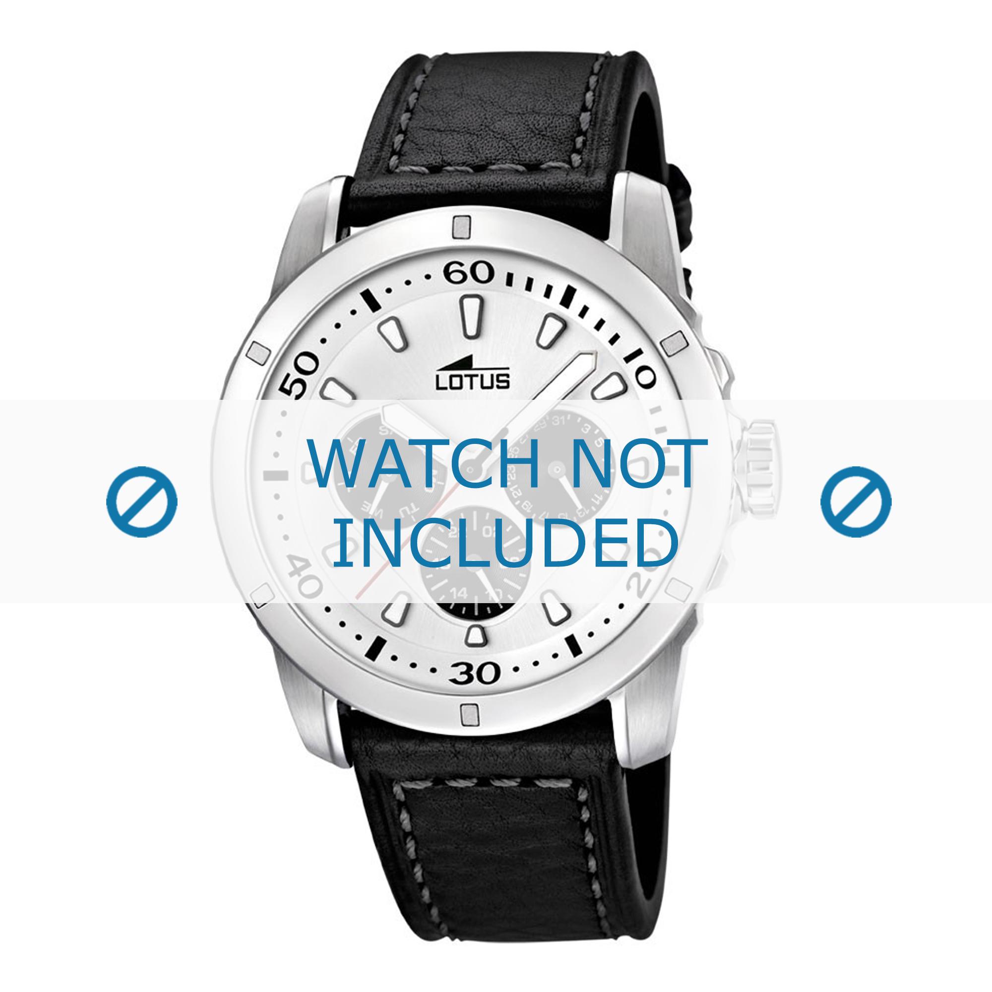 Lotus horlogeband 15811 / 15688/3 Leder Zwart 23mm + grijs stiksel