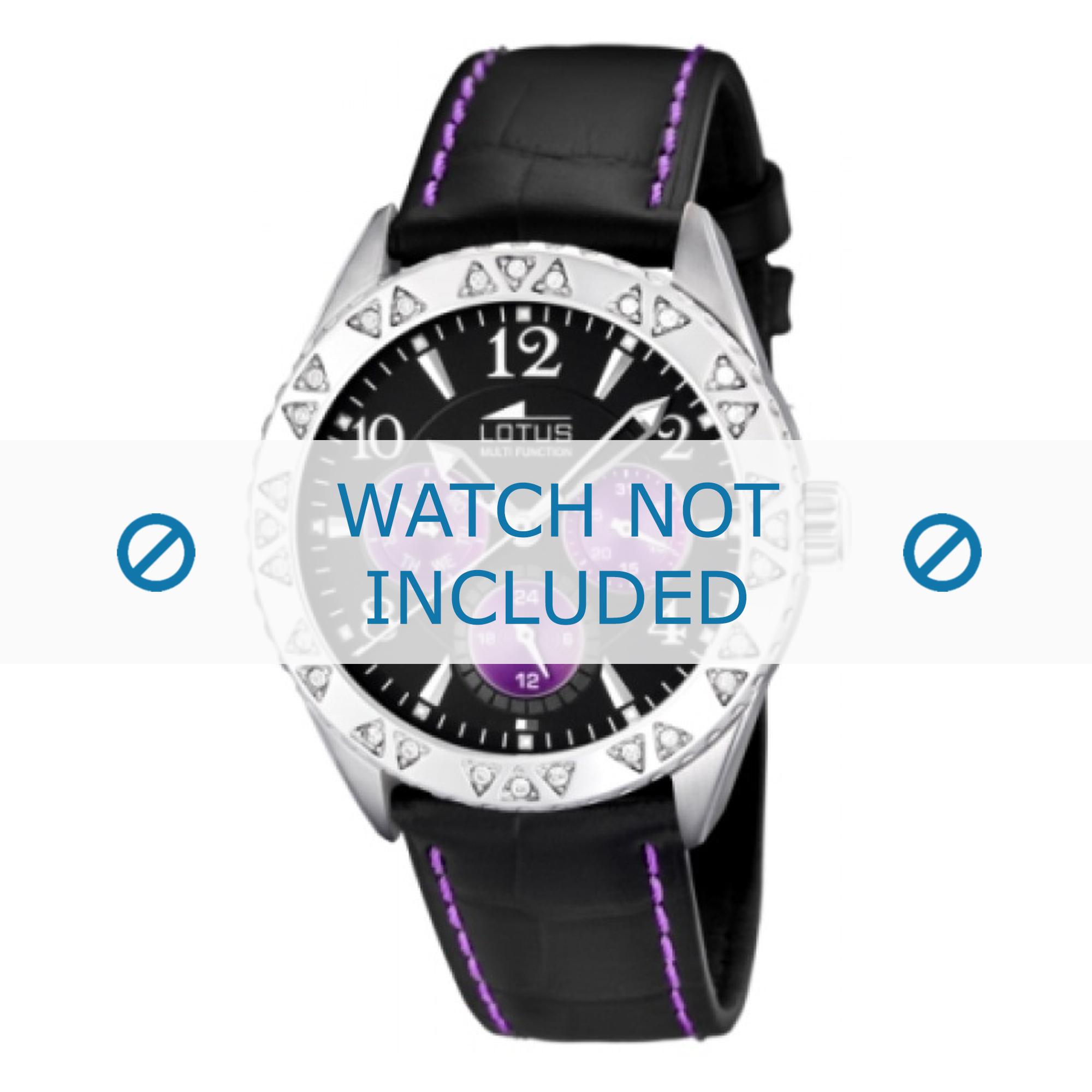 Lotus horlogeband L15681-4 Leder Zwart 21mm + paars stiksel