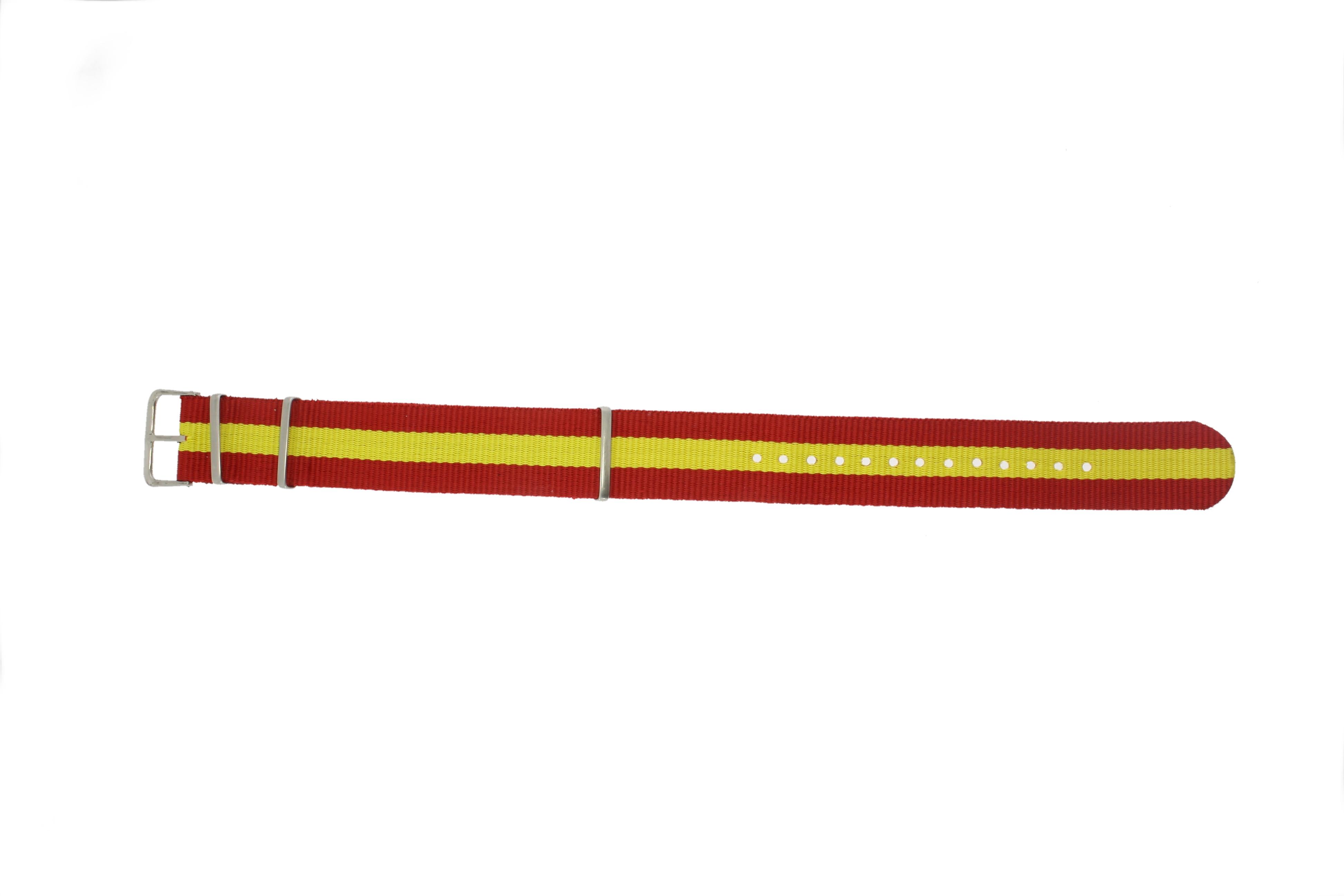Horlogeband Textiel 20mm Rood / Geel EX WG38