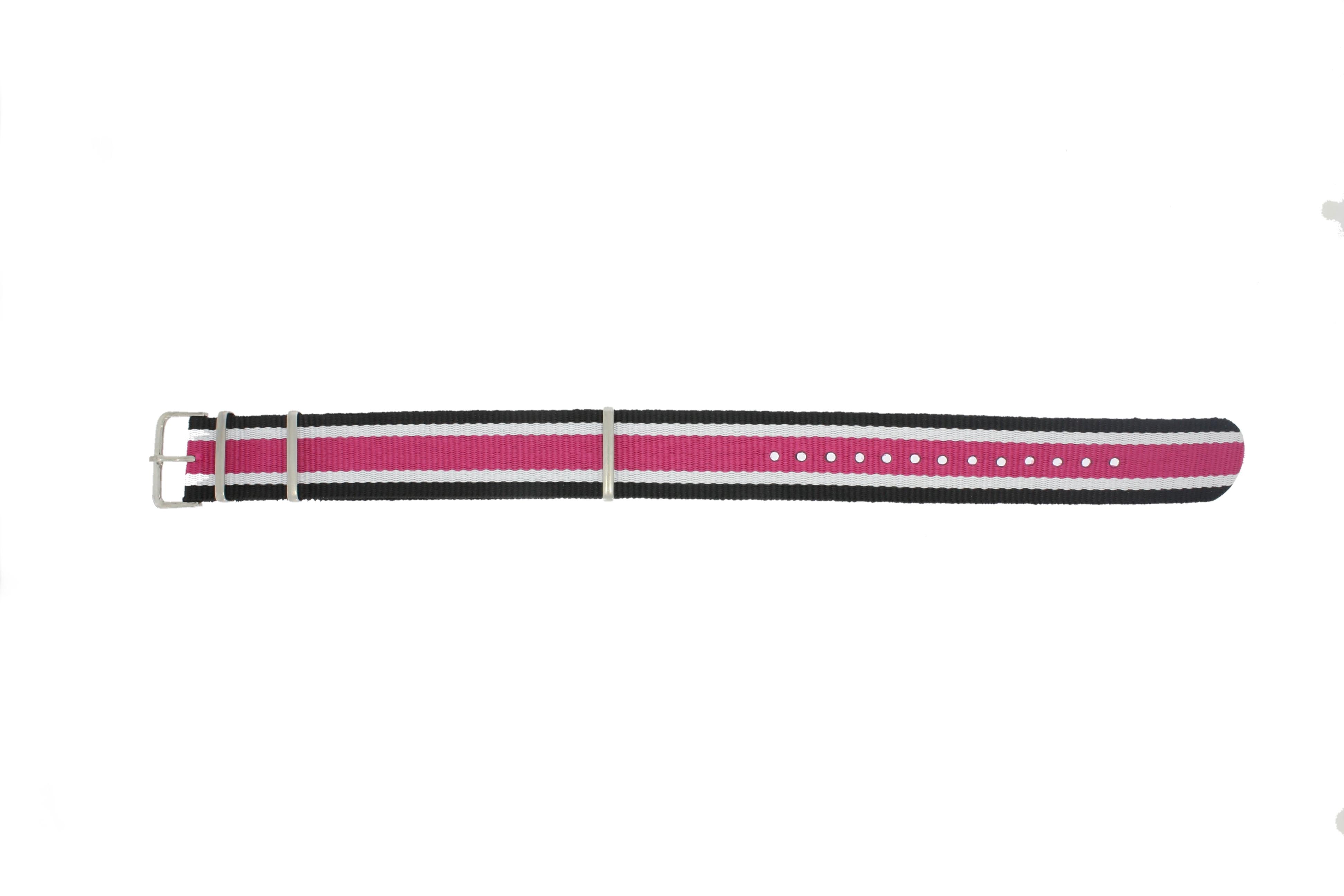 Horlogeband Textiel 22mm Zwart / Wit / Roze MD 1002