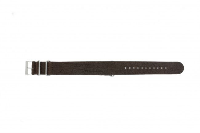 Horlogeband Leder 20mm Donkerbruin UG 15