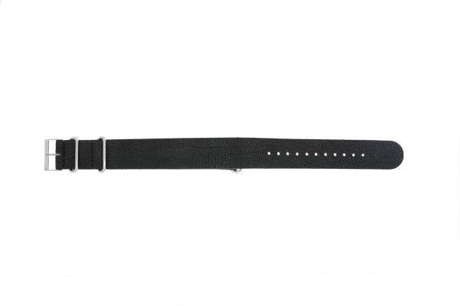 Horlogeband Leder 22mm Zwart NATO UH-13