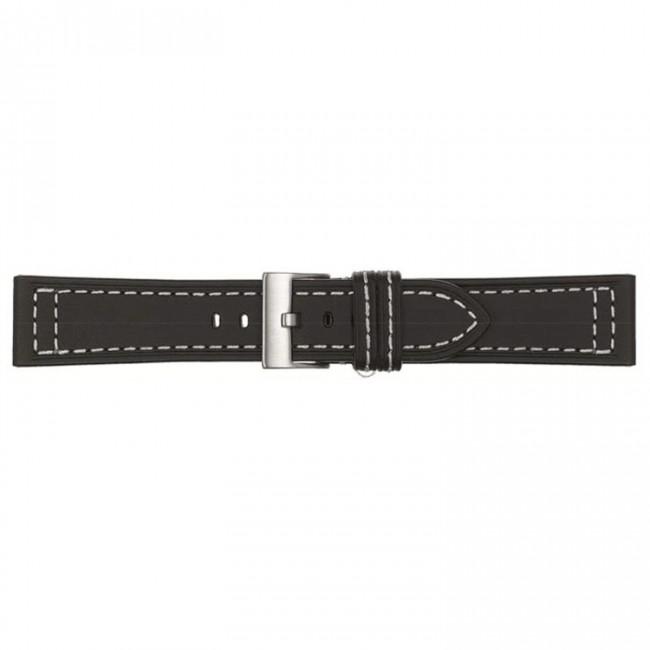 Horlogeband zwart leder 22mm 423